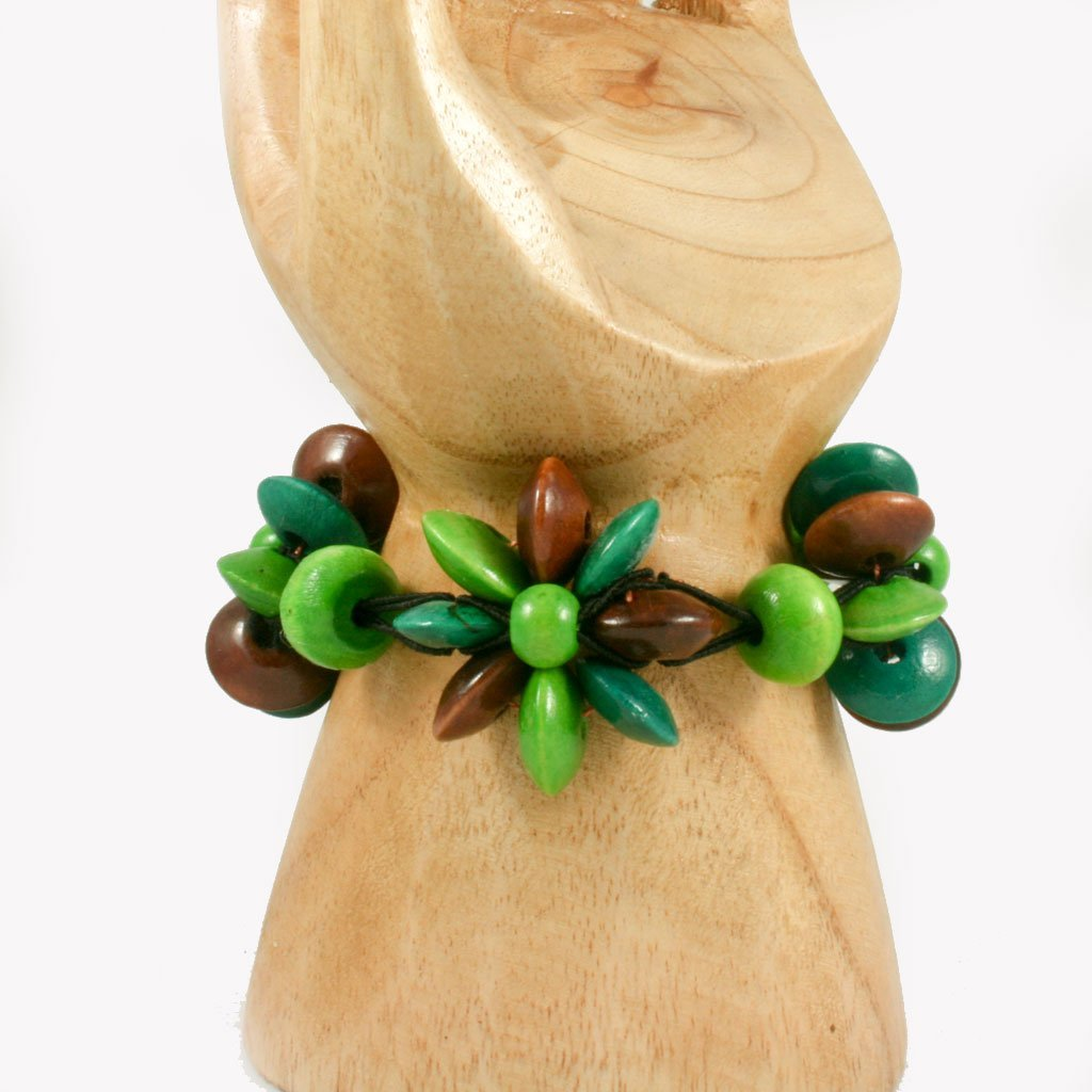 Brown & green wooden flower bead bracelet | Bracelet - The Naughty Shrew