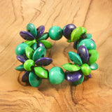 Blue & green wooden flower bead bracelet | Bracelet - The Naughty Shrew