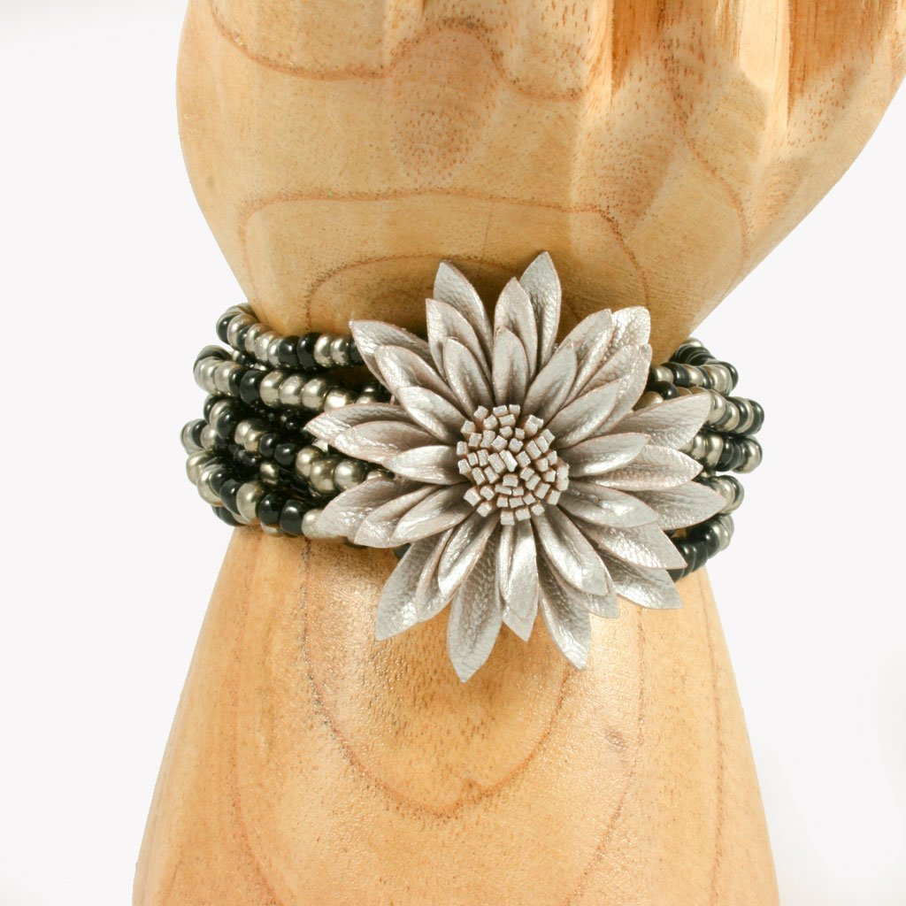 Black & silver beaded bracelet with silver leather flower | Bracelet - The Naughty Shrew