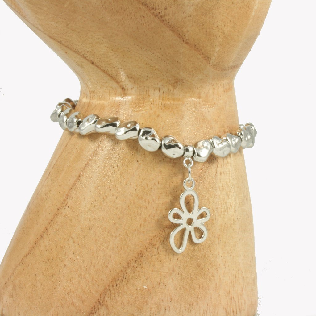 Metal beaded bracelet with daisy flower charm | Bracelet - The Naughty Shrew