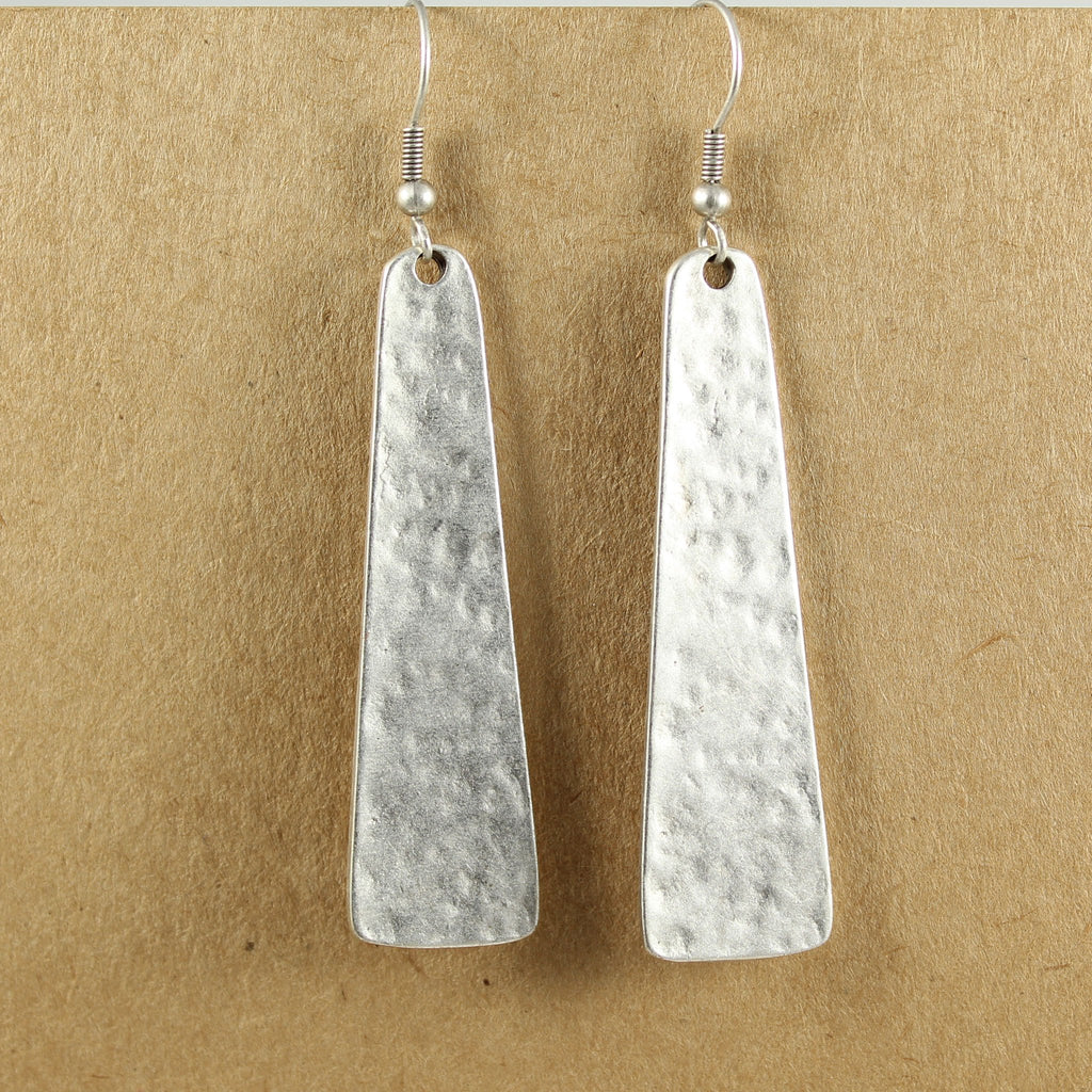 Geometric long beaten metal earrings - the naughty shrew