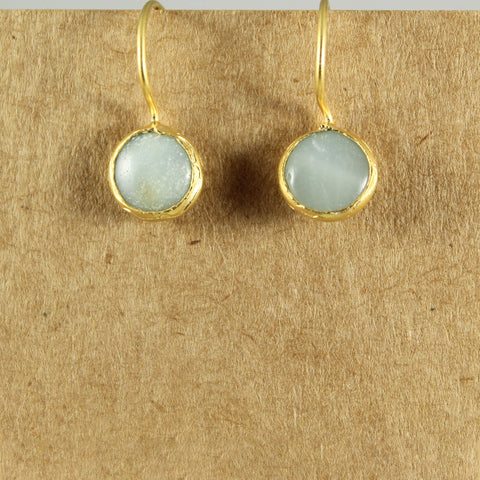Gold plated aqua stone drop earrings - the naughty shrew