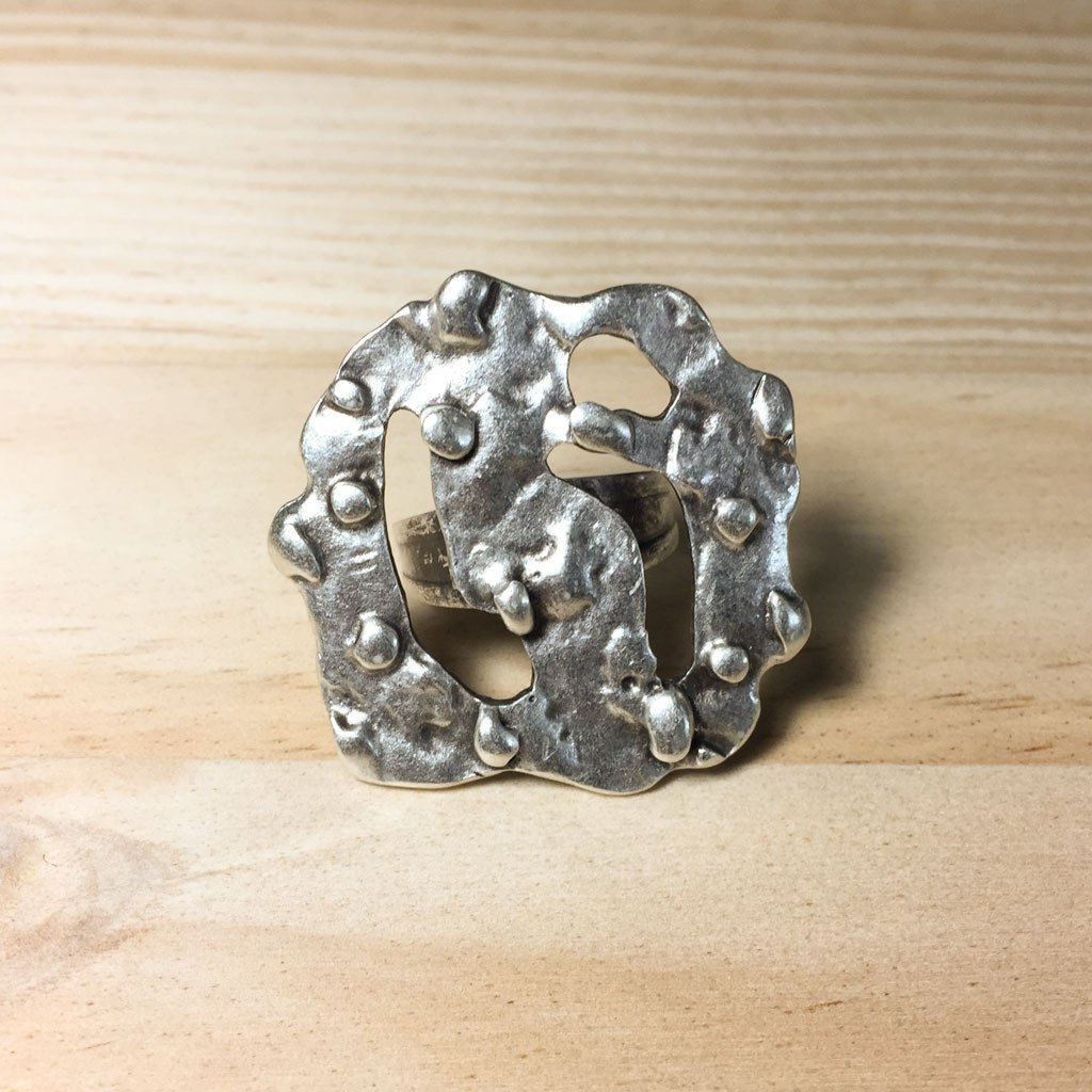 Large silver plated abstract square ring | Ring - The Naughty Shrew