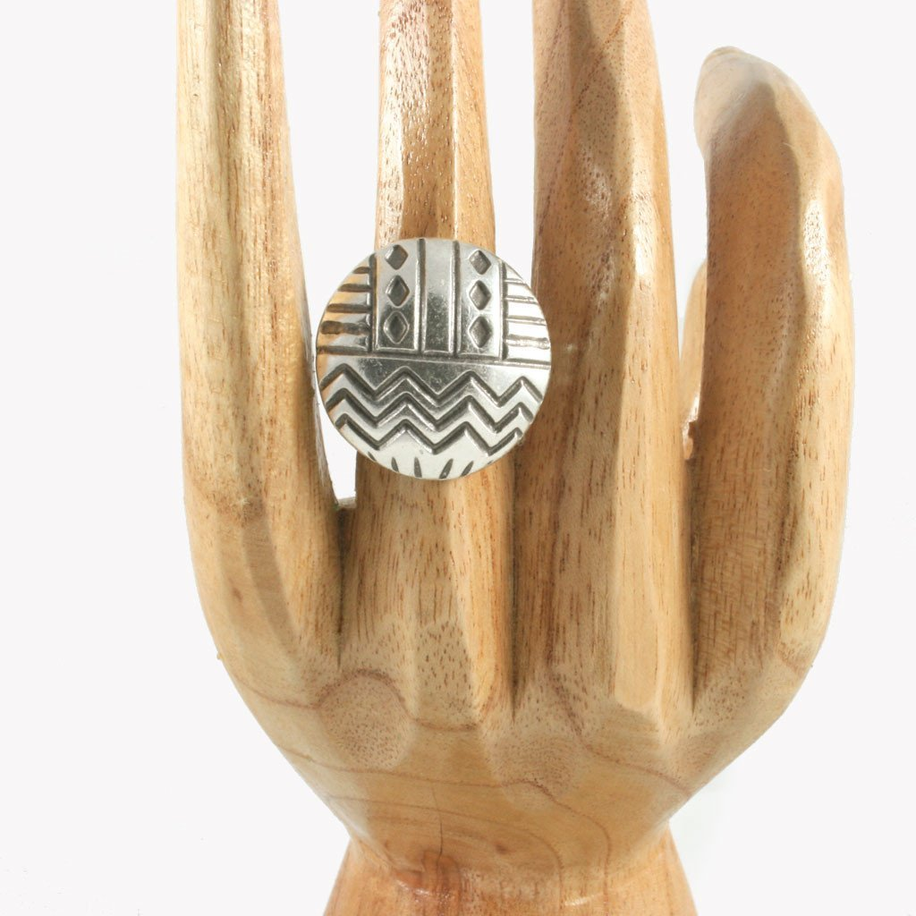 Aztec geometric silver-plated ring | Ring - The Naughty Shrew