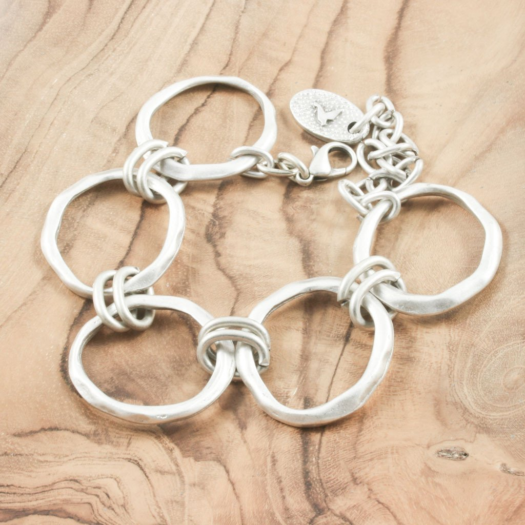 Silver plated irregular circle hoop bracelet - the naughty shrew
