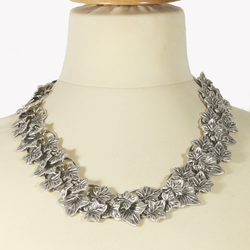 Silver-plated ivy statement necklace - The Naughty Shrew