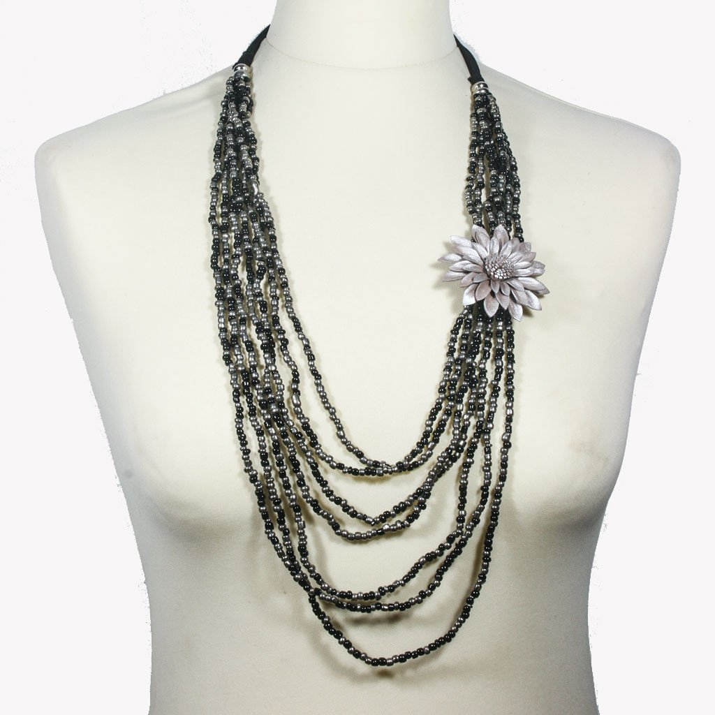 Multi-strand black & silver necklace with silver leather flower - The Naughty Shrew