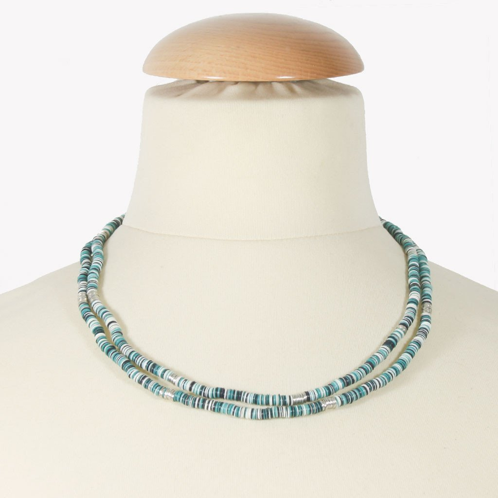 Teal, black & white sequin necklace | Necklace - The Naughty Shrew