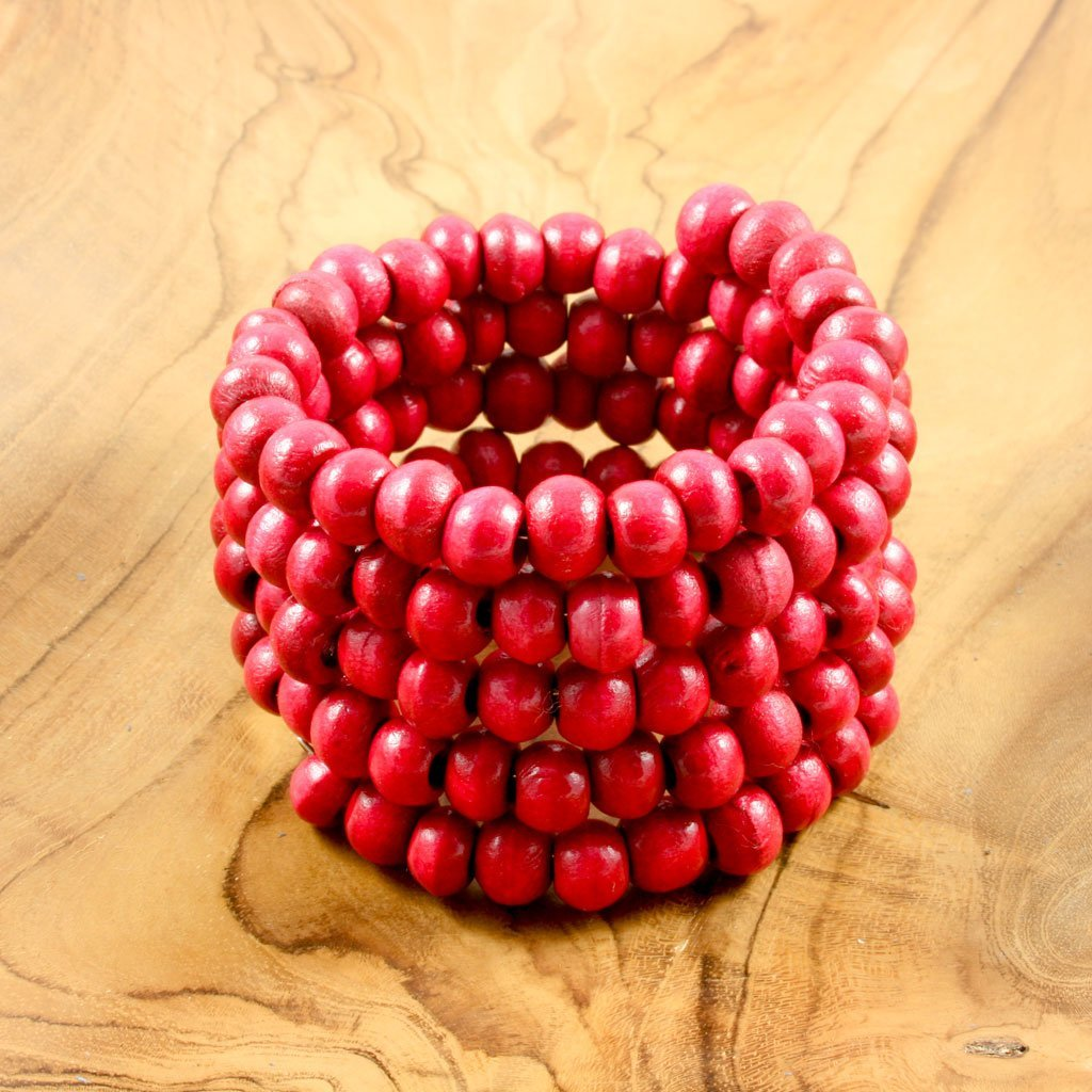 Red spiral wrap-around wooden bead bracelet | Bracelet - The Naughty Shrew