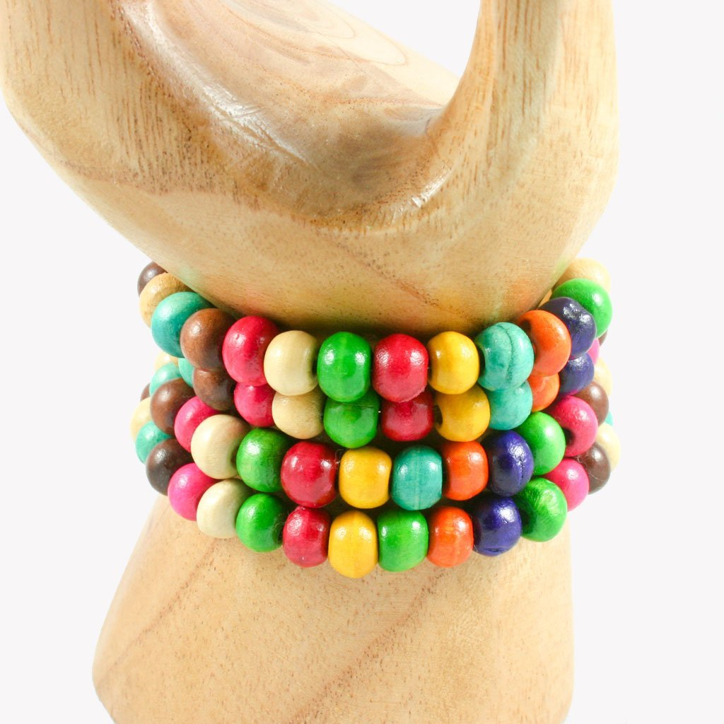 rainbow spiral wrap-around wooden bead bracelet | Bracelet - The Naughty Shrew