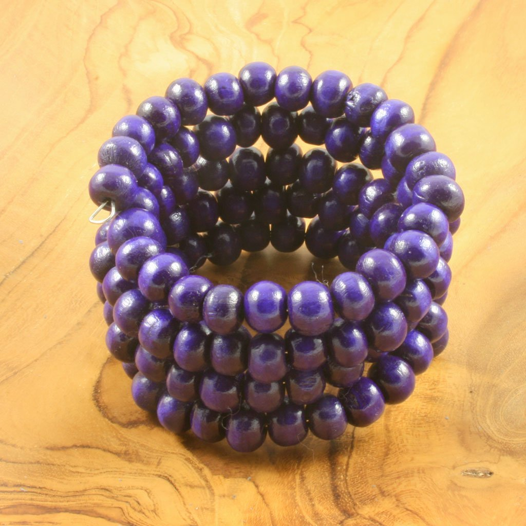 Purple spiral wrap-around wooden bead bracelet | Bracelet - The Naughty Shrew