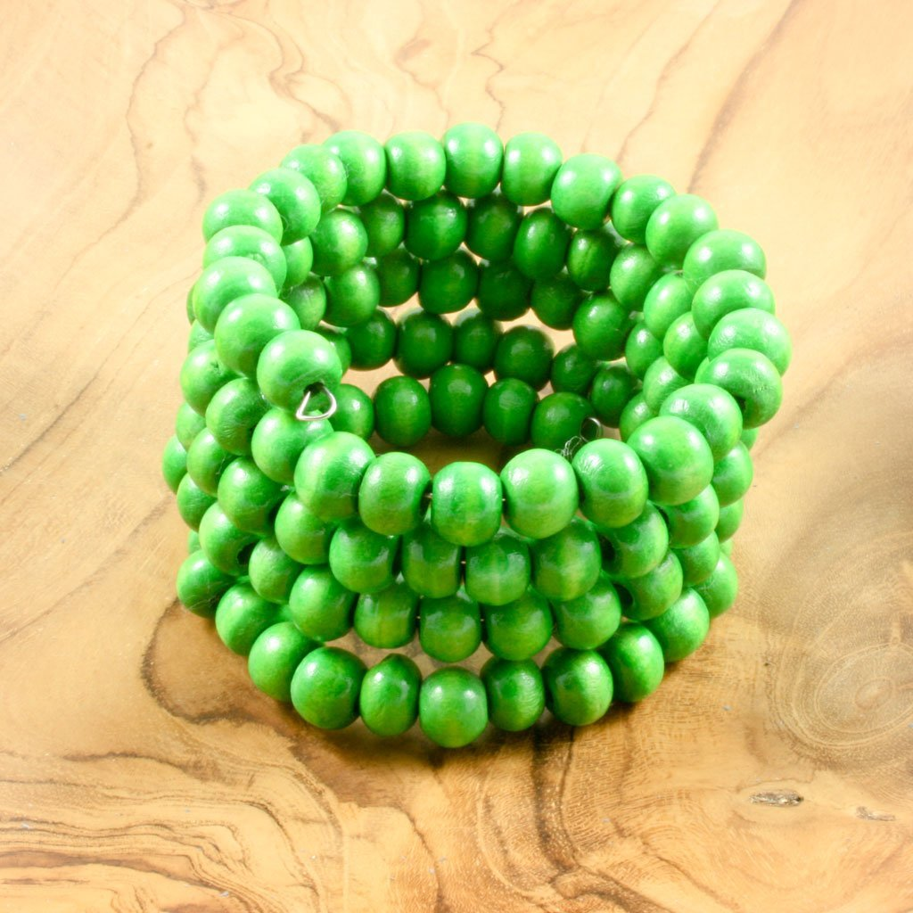 Green spiral wrap-around wooden bead bracelet | Bracelet - The Naughty Shrew