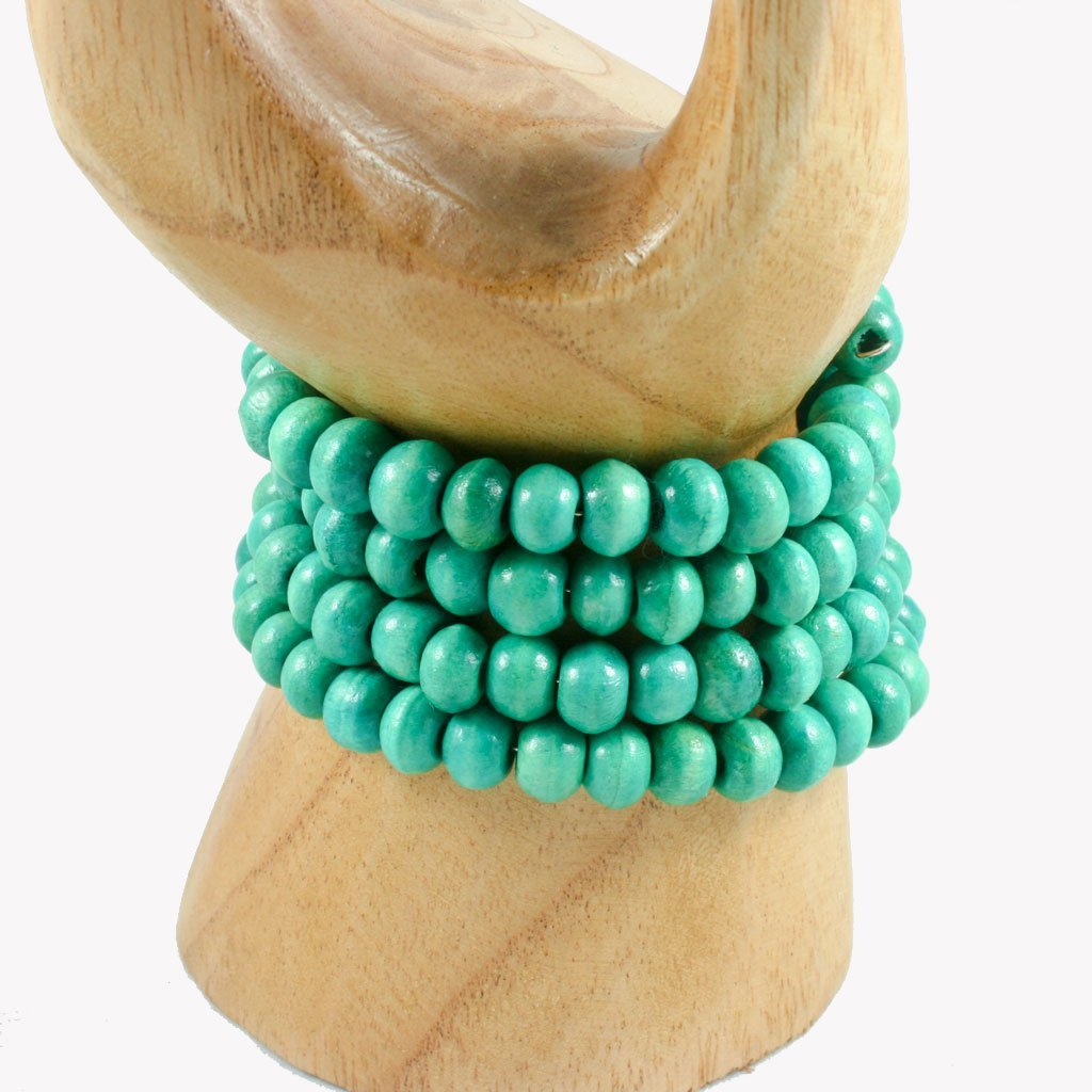 Turquoise spiral wrap-around wooden bead bracelet | Bracelet - The Naughty Shrew