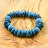 Blue wooden bead bracelet | Bracelet - The Naughty Shrew