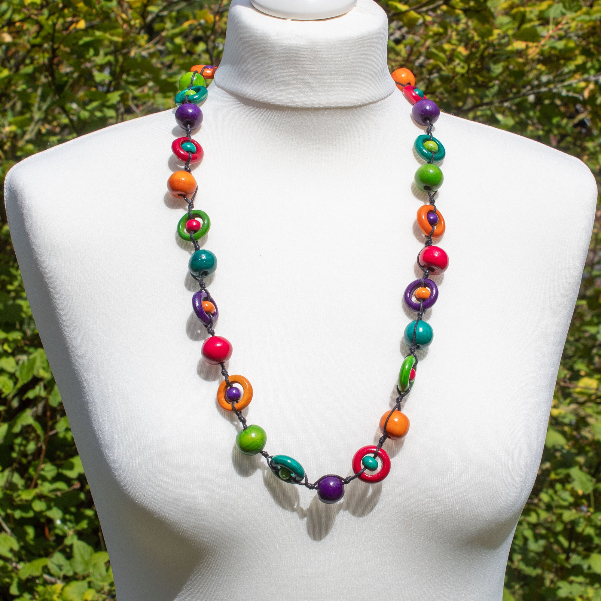 Brightly Coloured Ball & Ring Wooden Bead Necklace | Necklace - The Naughty Shrew