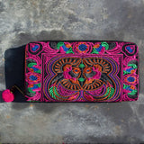 Embroidered Clutch Purse - Orange & Pink | Purse - The Naughty Shrew