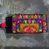 Embroidered Clutch Purse - Orange & Purple - the naughty shrew