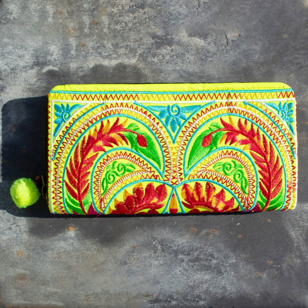 Embroidered Clutch Purse - Fluorescent Yellow - The Naughty Shrew