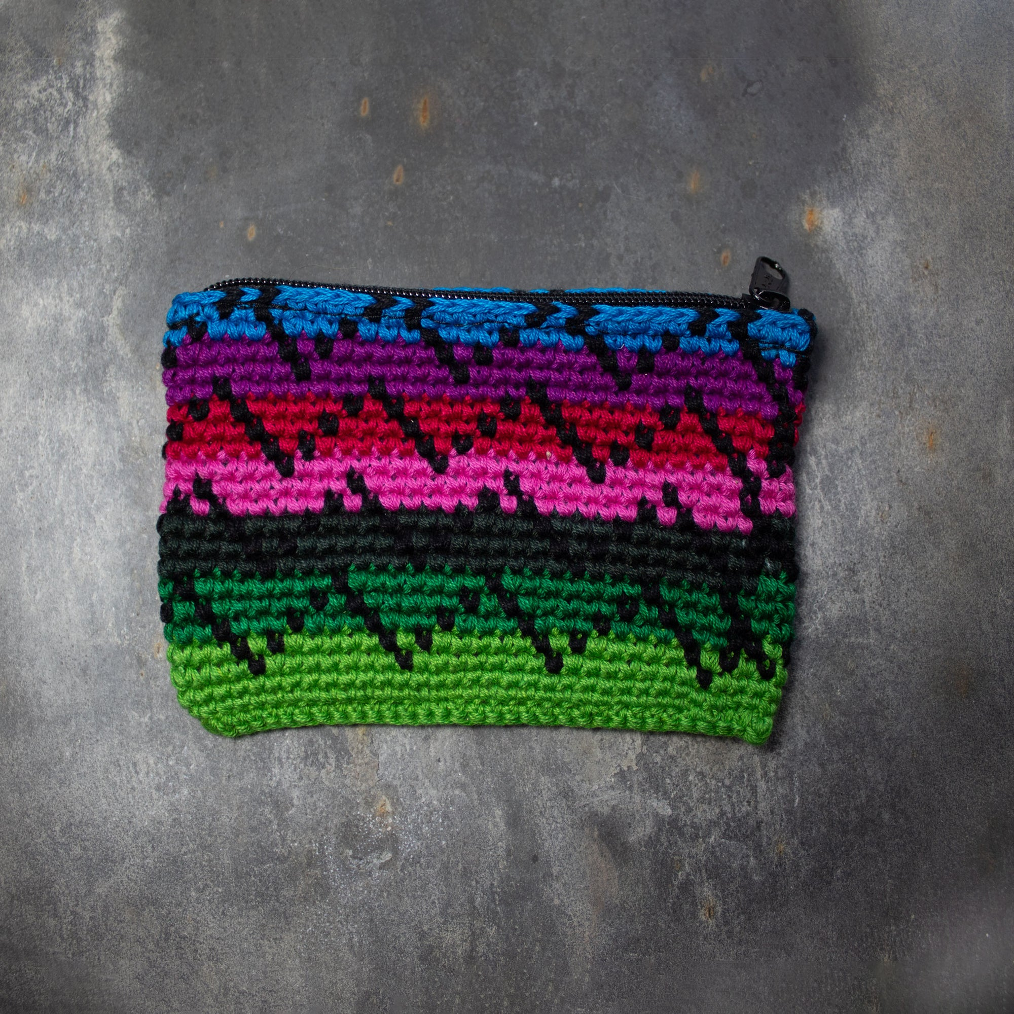 Rectangular Crochet Coin Purse - Green & Purple | Purse - The Naughty Shrew