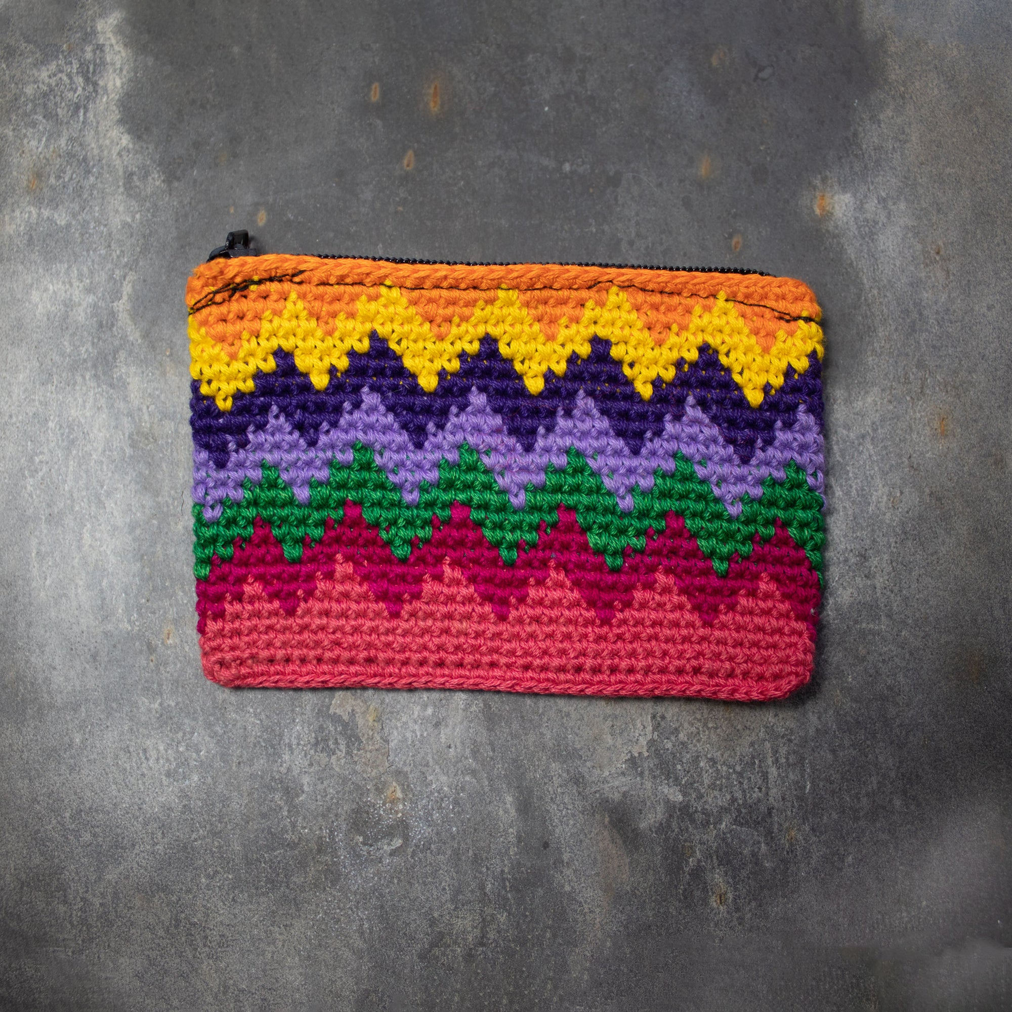 Rectangular Crochet Coin Purse - Peach & Yellow | Purse - The Naughty Shrew