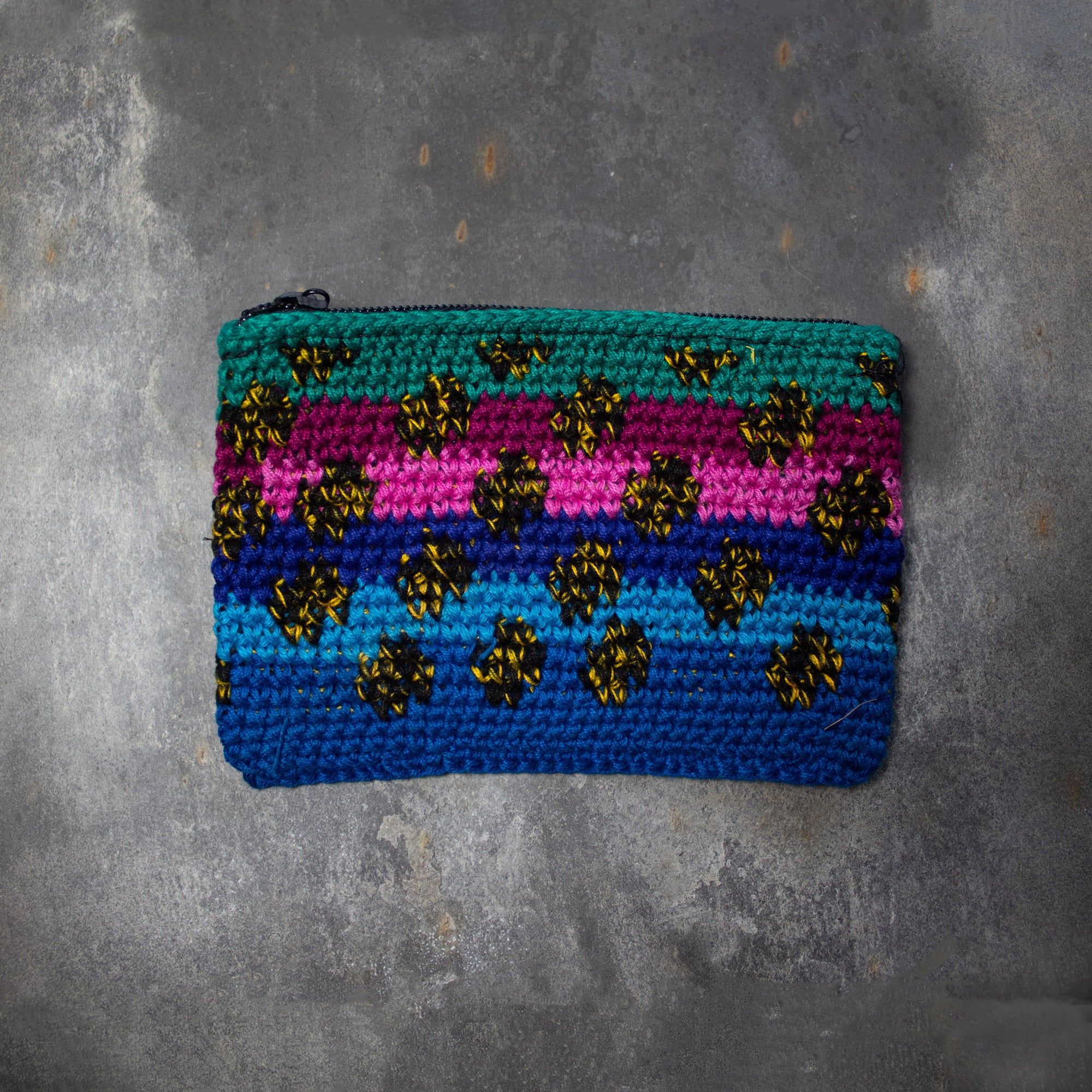 Rectangular Crochet Coin Purse - Blue & Spots | Purse - The Naughty Shrew