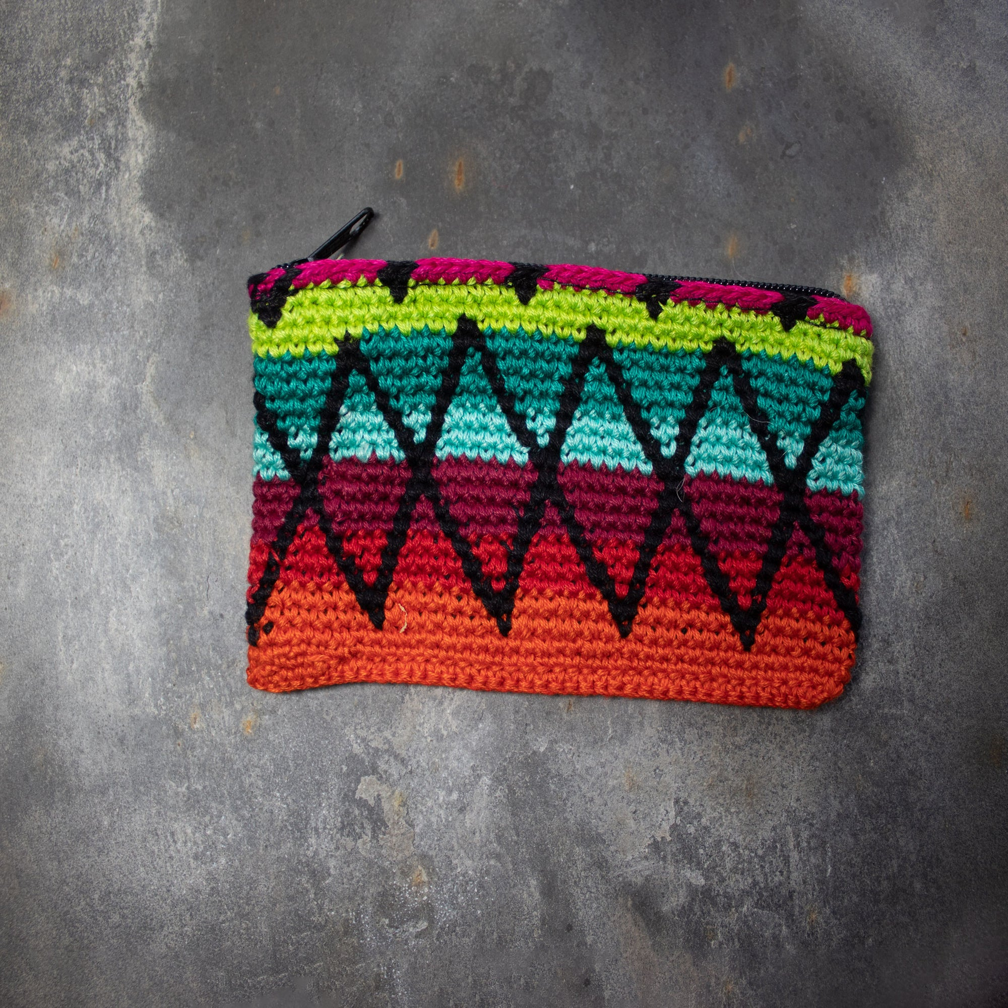 Rectangular Crochet Coin Purse - Orange & Green | Purse - The Naughty Shrew