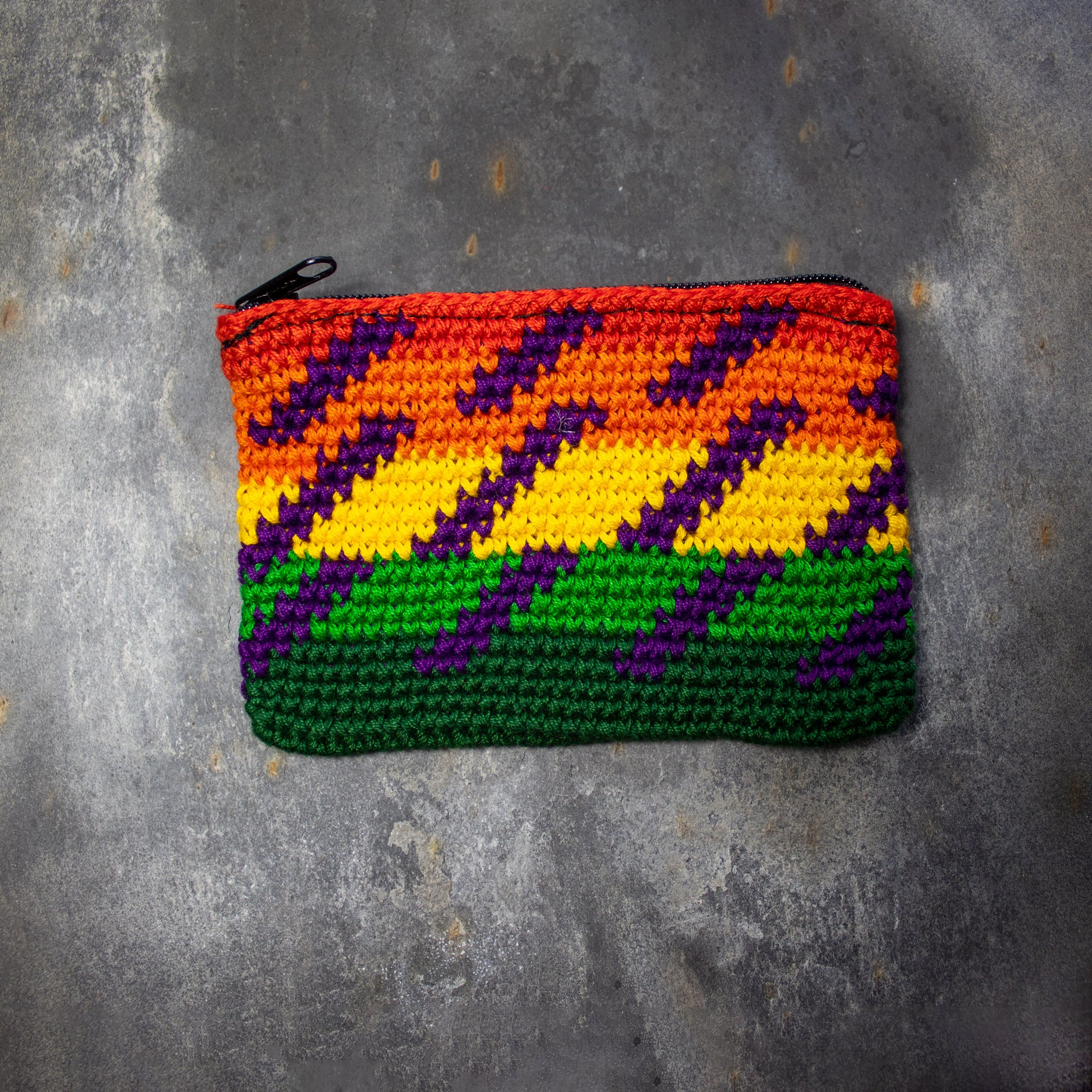 Rectangular Crochet Coin Purse - Green & Yellow | Purse - The Naughty Shrew