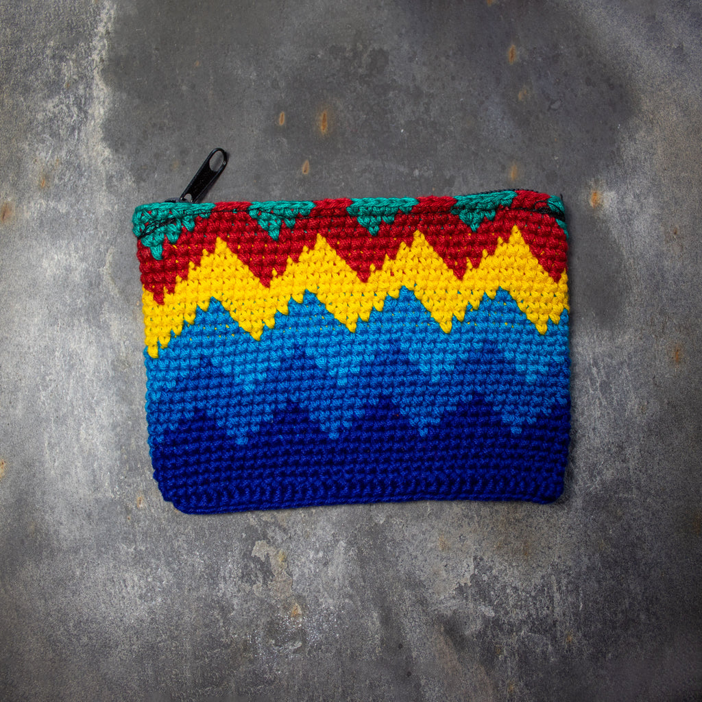 Rectangular Crochet Coin Purse - Yellow & Blue | Purse - The Naughty Shrew