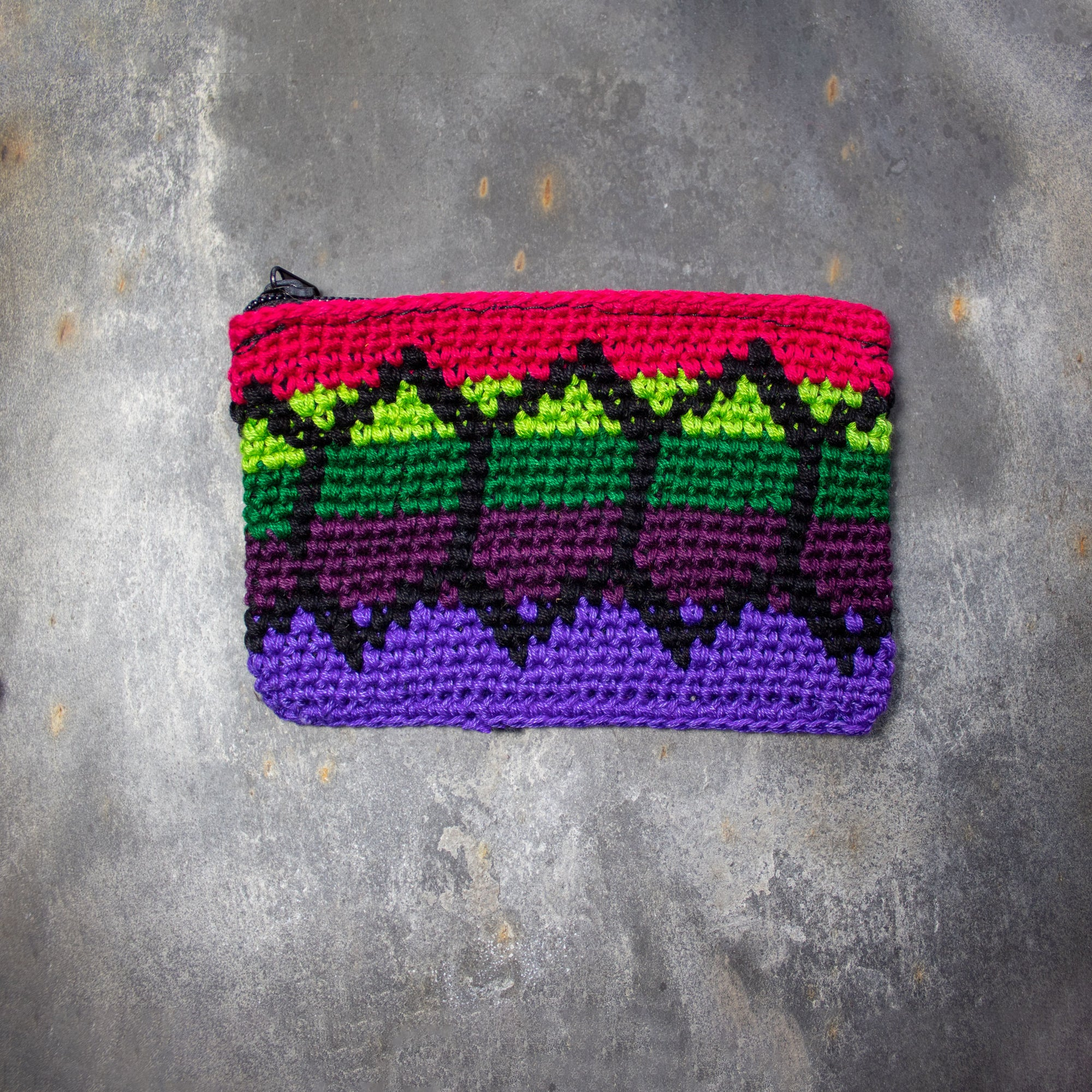 Rectangular Crochet Coin Purse - Purple & Green | Purse - The Naughty Shrew