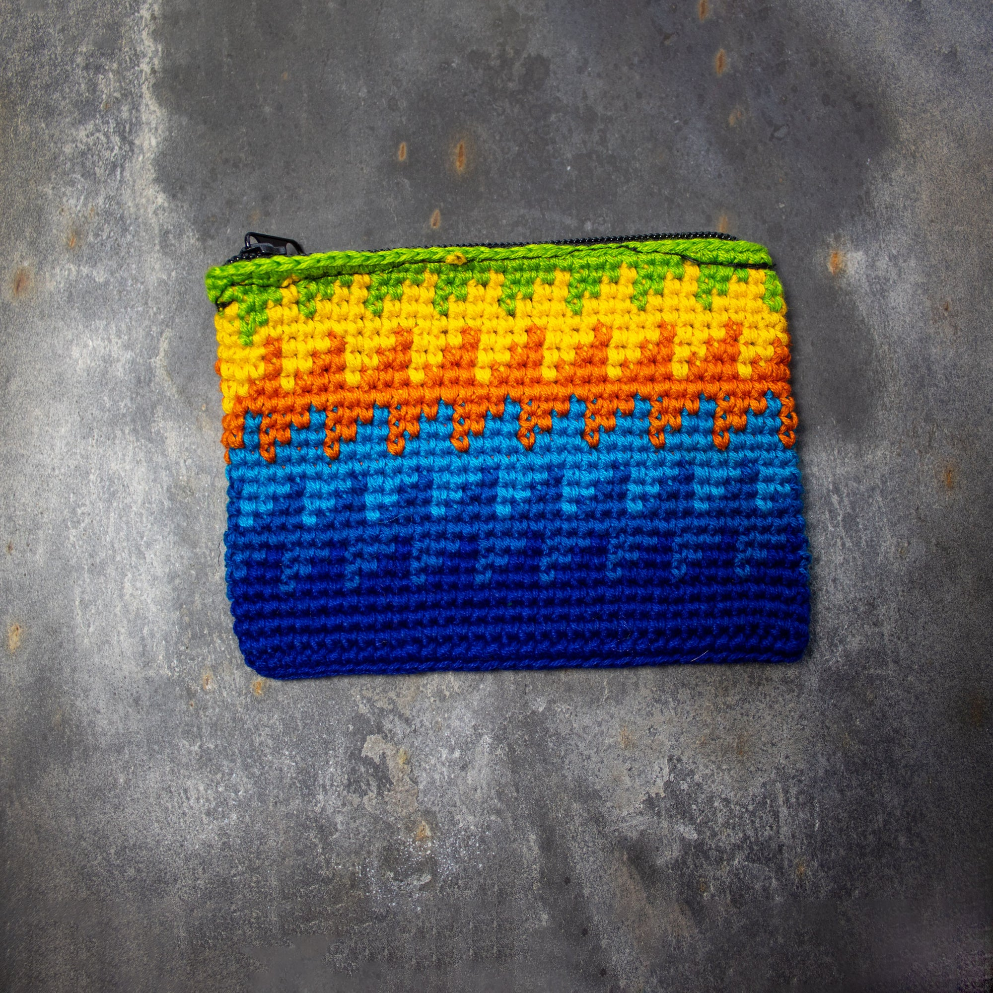 Rectangular Crochet Coin Purse - Blue & Orange | Purse - The Naughty Shrew