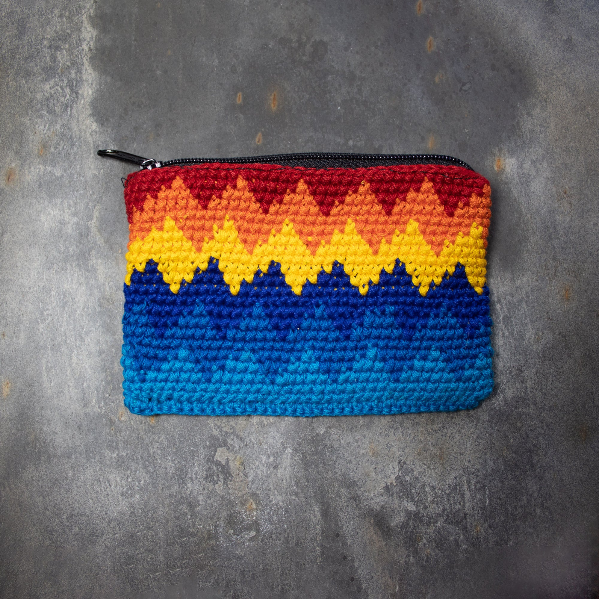 Rectangular Crochet Coin Purse - Blue & Red | Purse - The Naughty Shrew