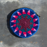 Round Crochet Purse - Blue & Pink - the naughty shrew