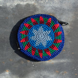 Round Crochet Purse - Orange & Blue