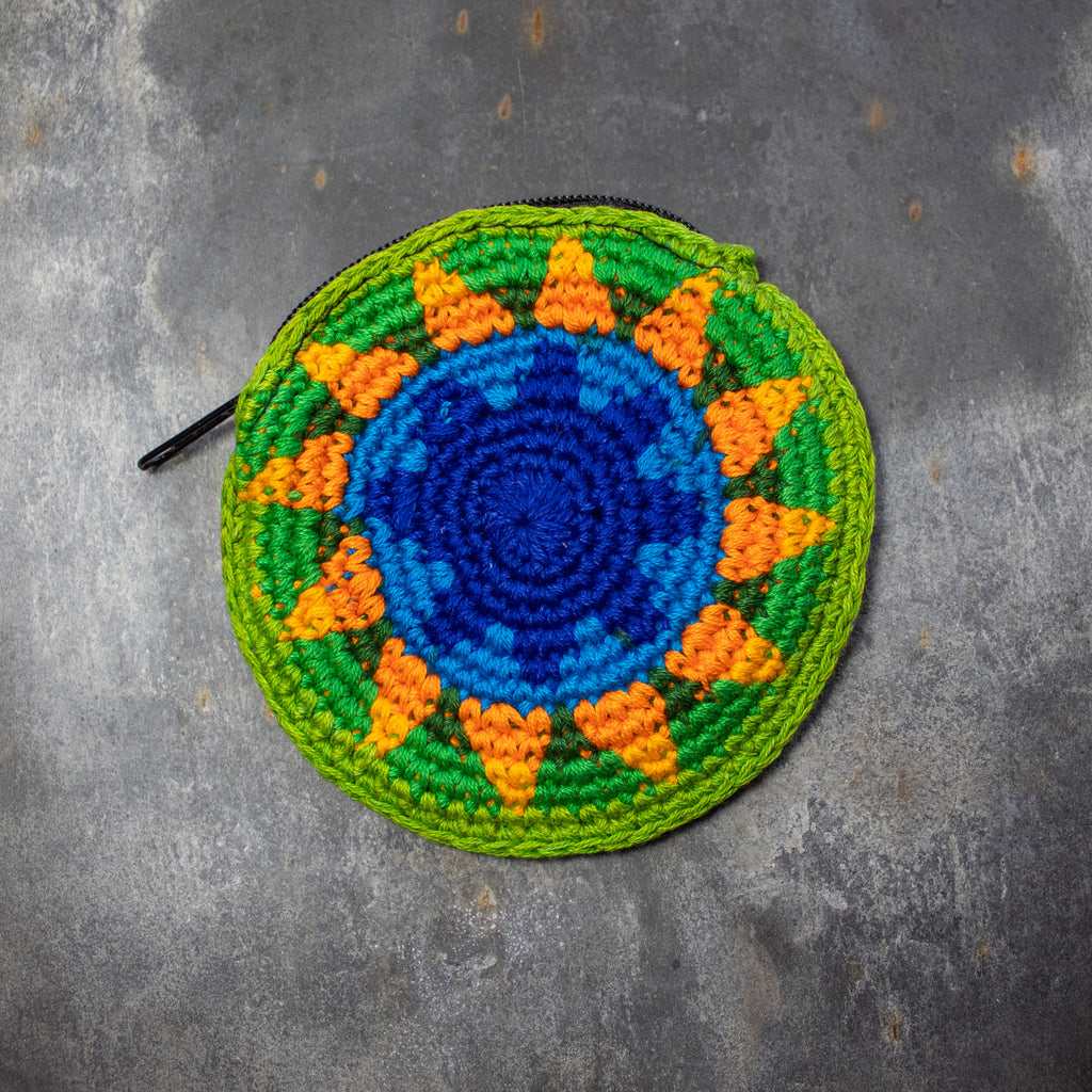 Round Crochet Purse - Blue & Green | Purse - The Naughty Shrew
