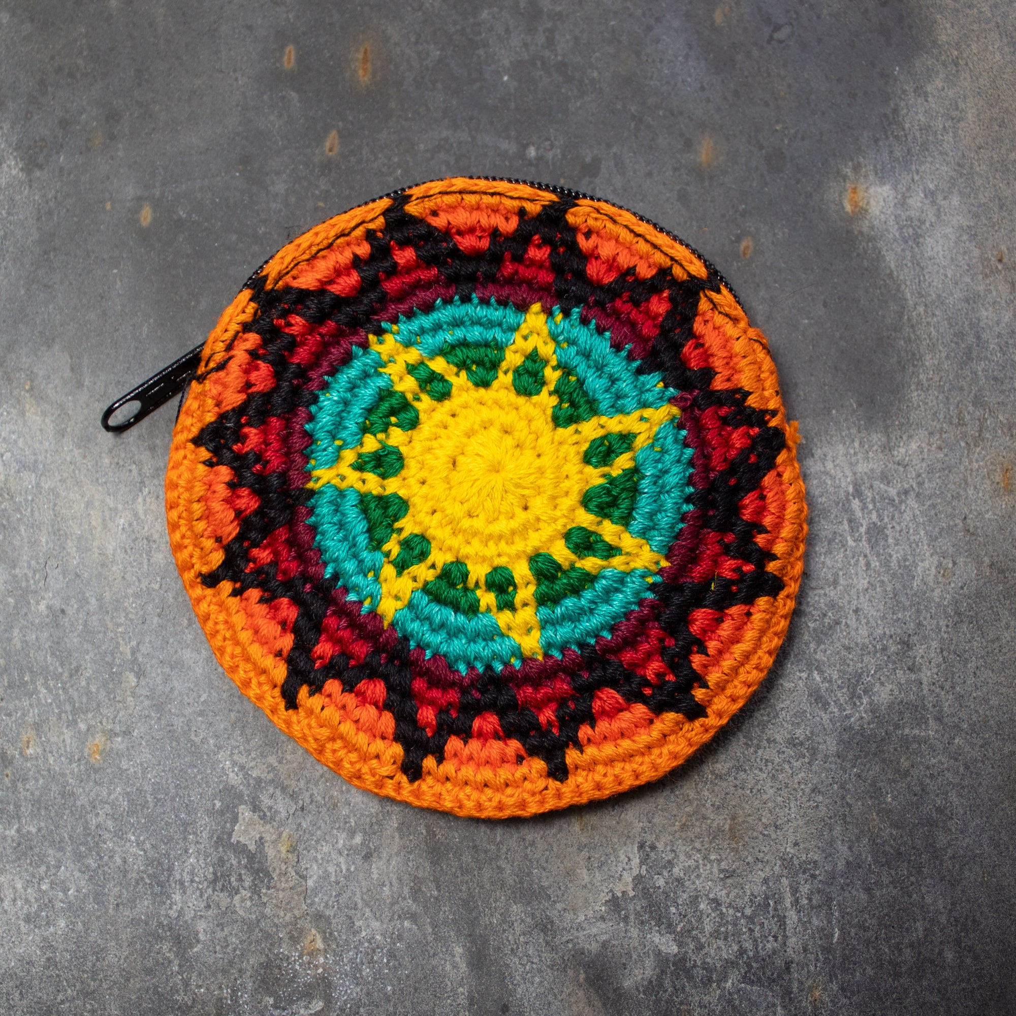 Round Crochet Purse - Orange & Yellow | Purse - The Naughty Shrew