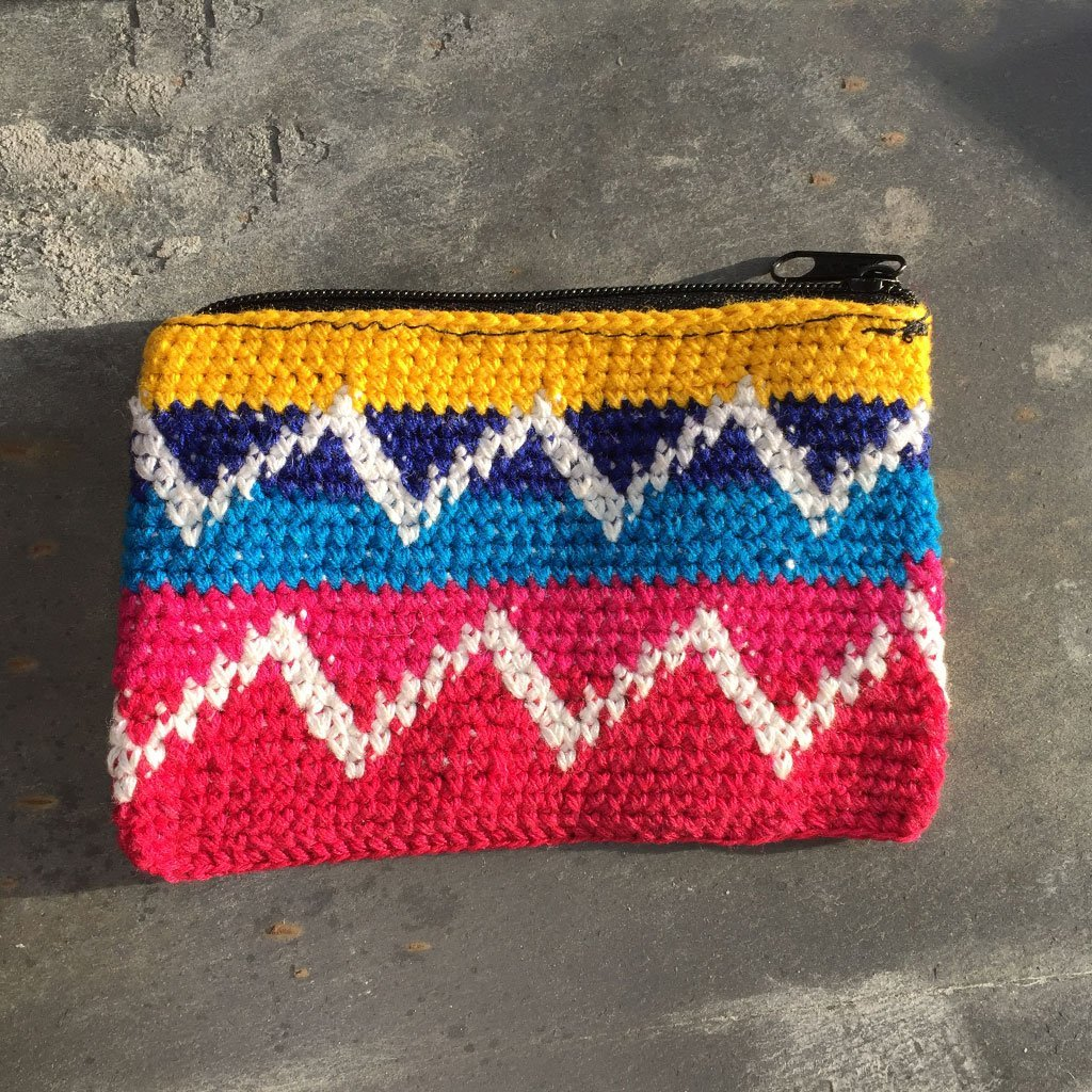 Rectangular Crochet Coin Purse - Yellow & Pink - The Naughty Shrew