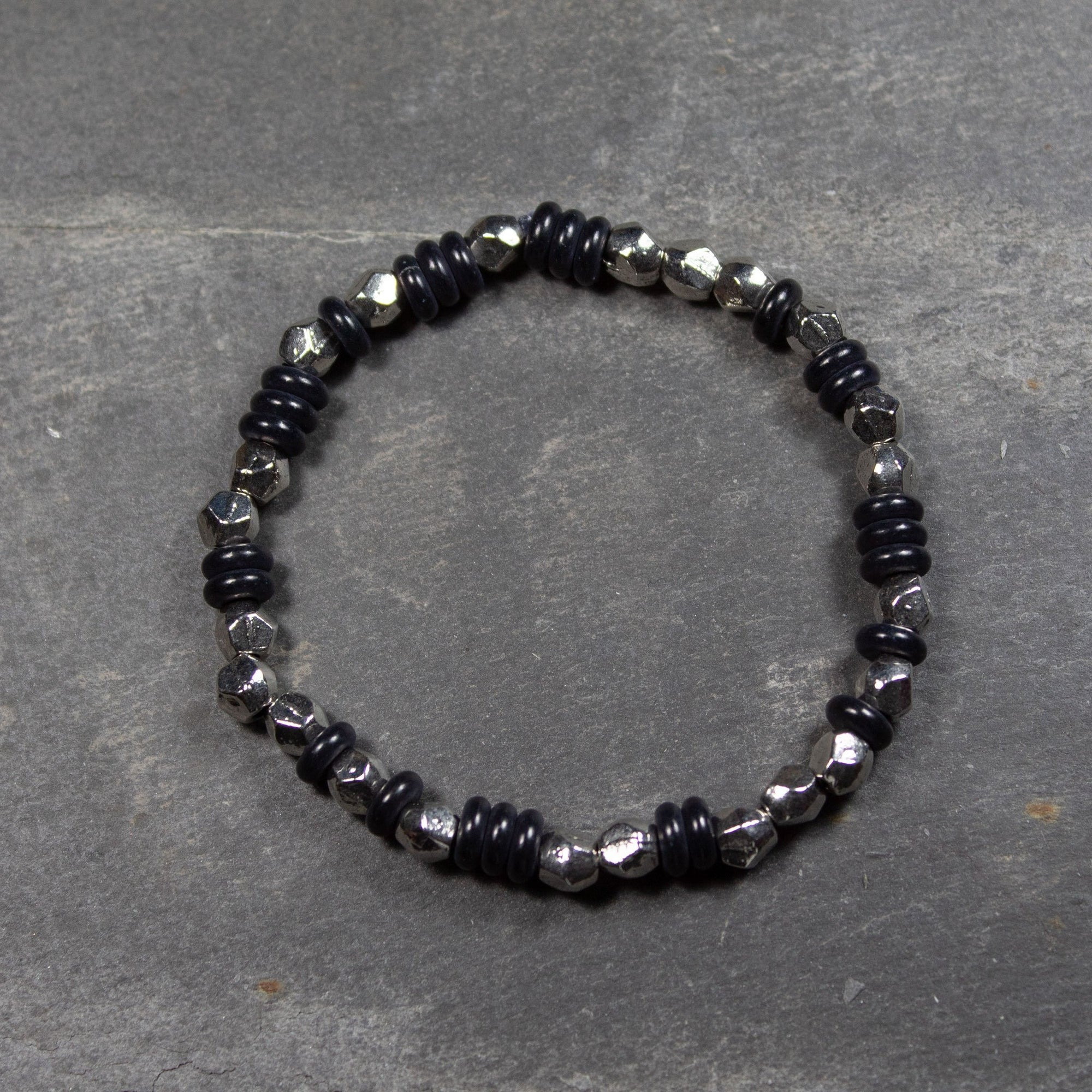 Black Stone Disc & Geometric Metal Bead Bracelet | Bracelet - The Naughty Shrew