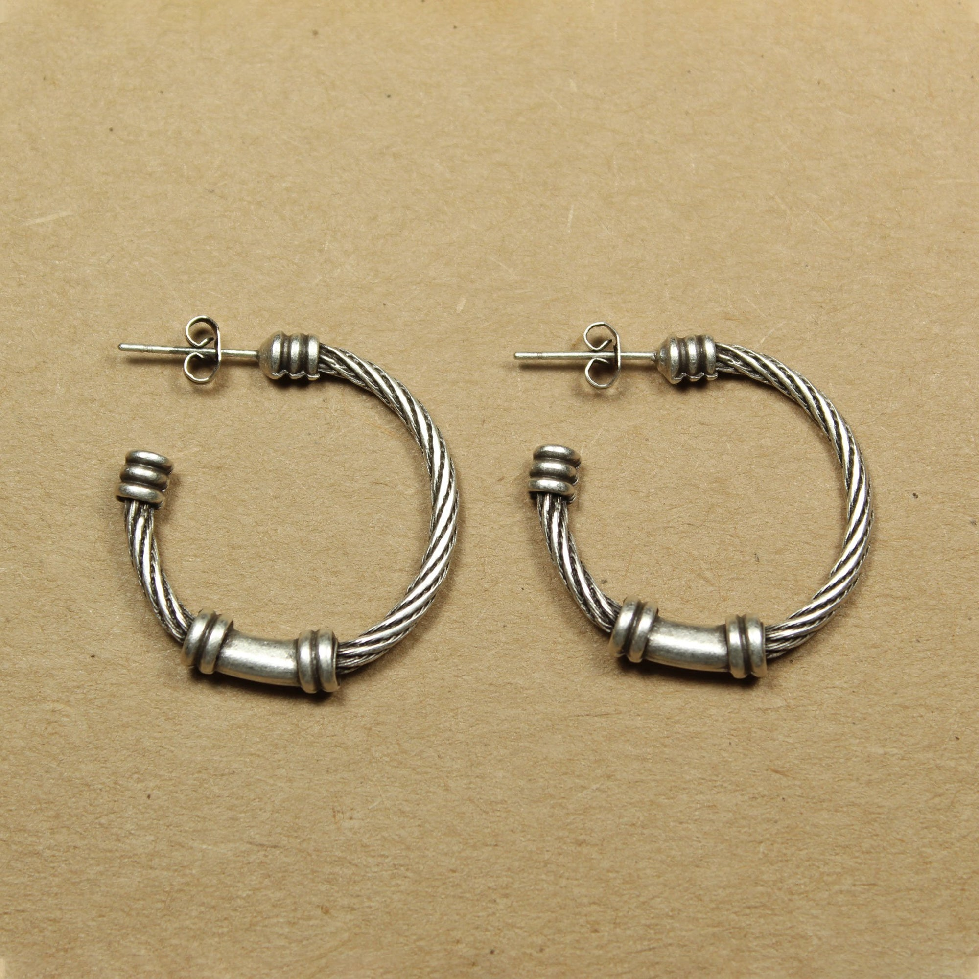 Textured wire-look hoop earrings | Earrings - The Naughty Shrew
