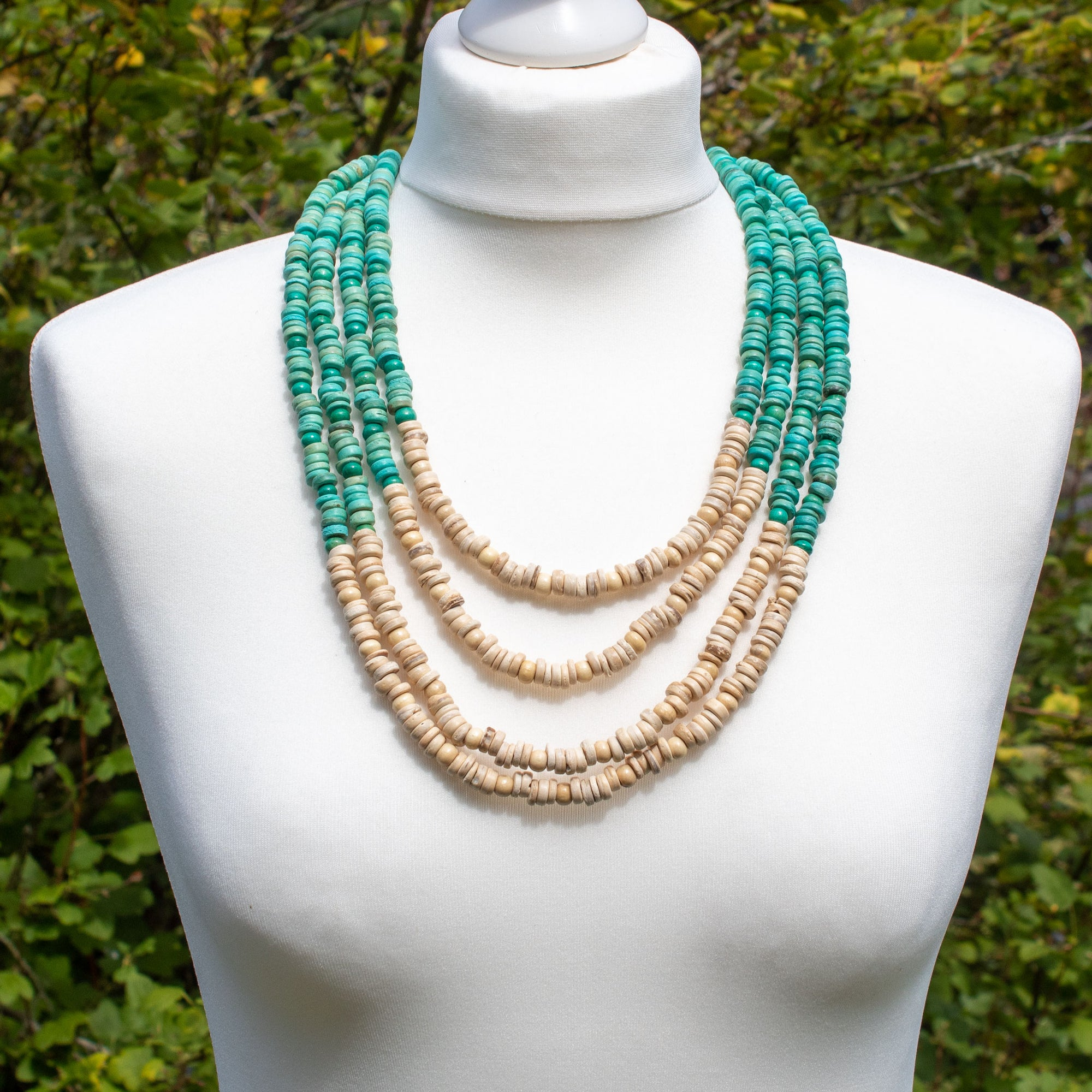 Cream & Turquoise Wooden Bead Multi-strand Necklace | Necklace - The Naughty Shrew