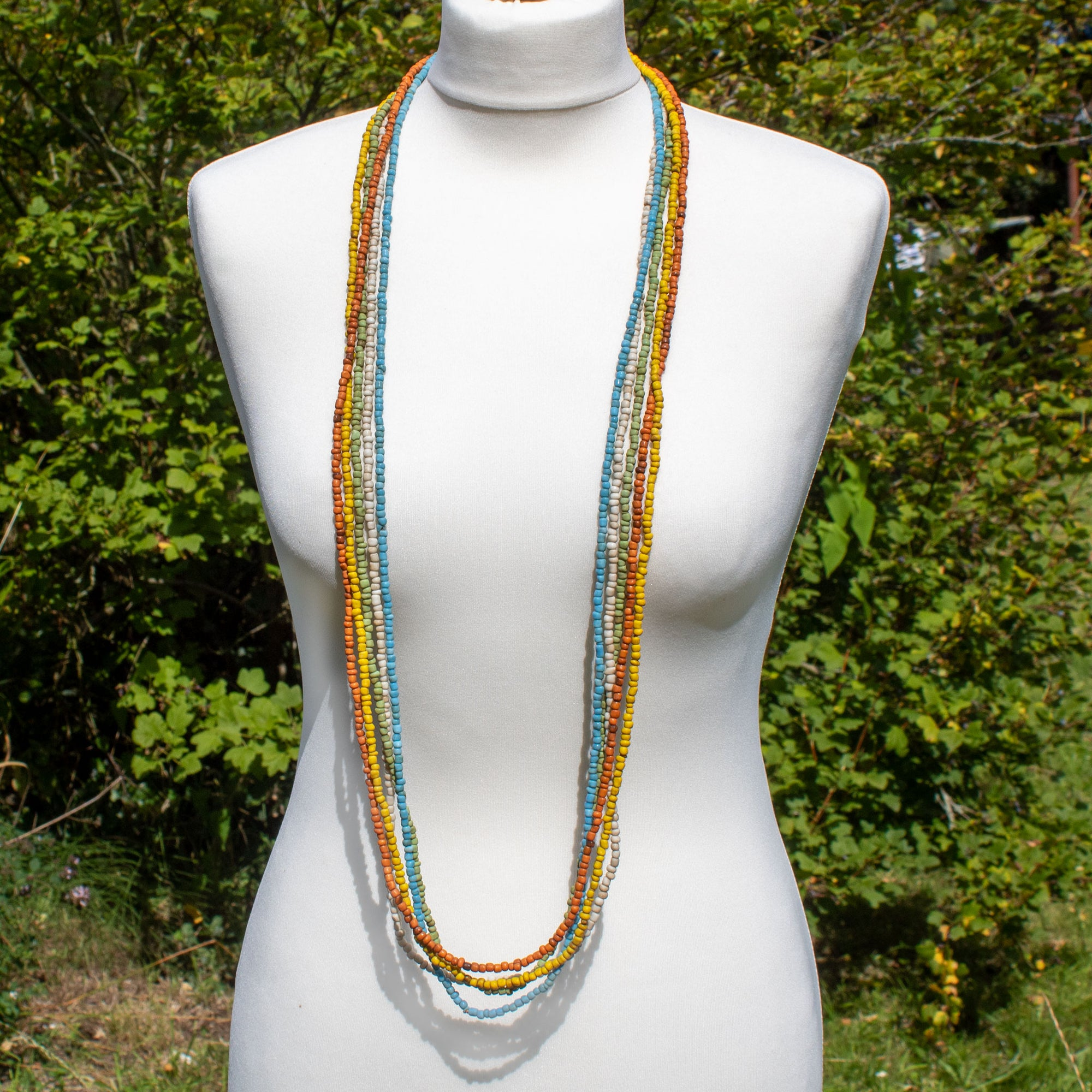 Long Coloured Glass Bead Multi-strand Necklace | Necklace - The Naughty Shrew