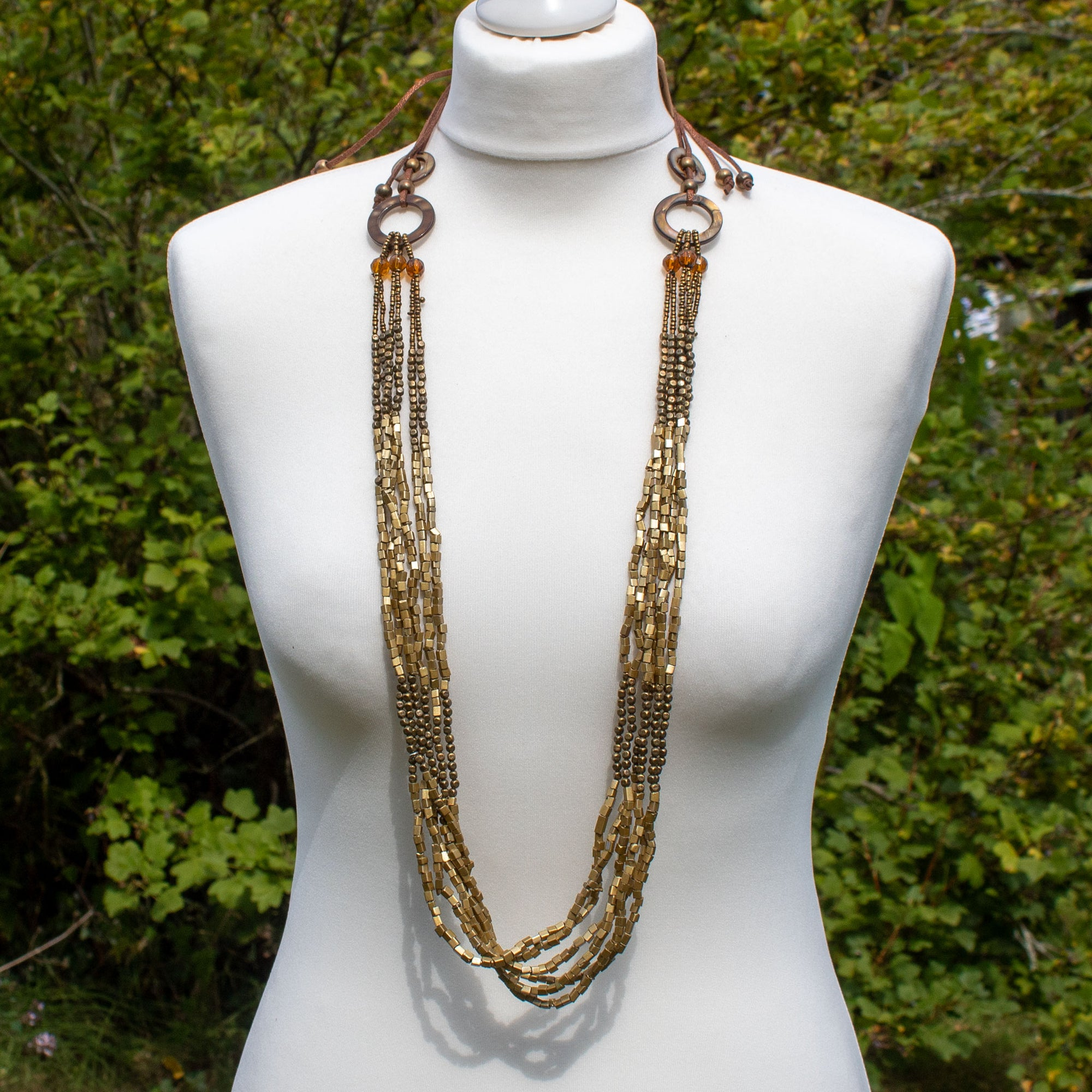 Long Bronze Bead Necklace | Necklace - The Naughty Shrew