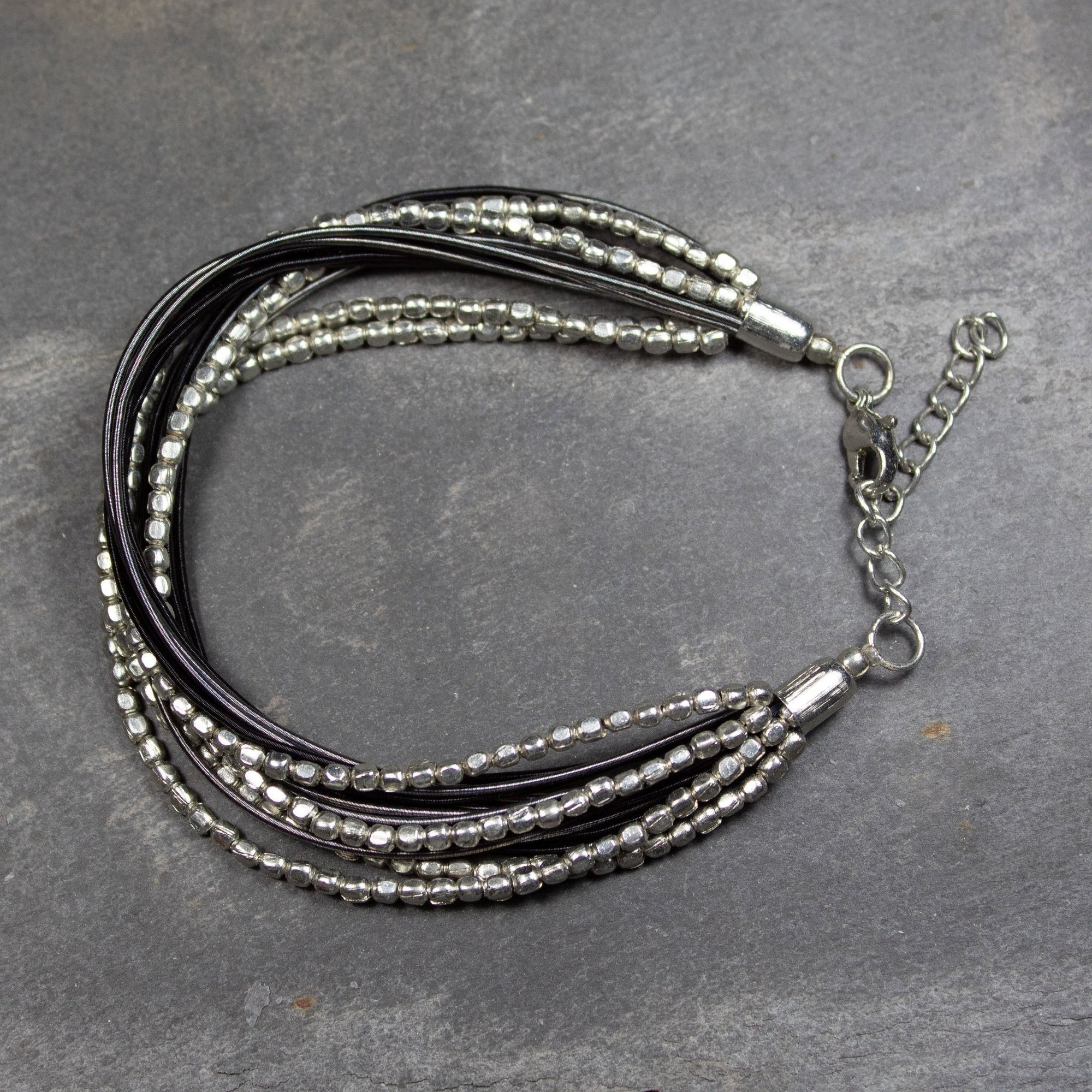 Multi Strand Black Wire & Metal Bracelet | Bracelet - The Naughty Shrew