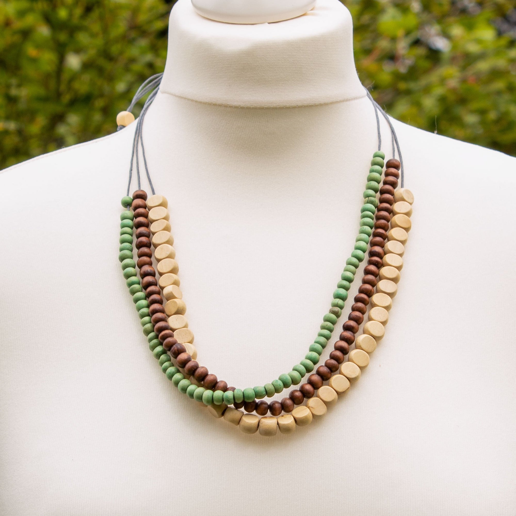 Green, Cream & Brown Wooden Necklace | Necklace - The Naughty Shrew