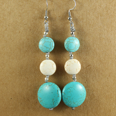 Long Aqua & Cream Stone Earrings - the naughty shrew