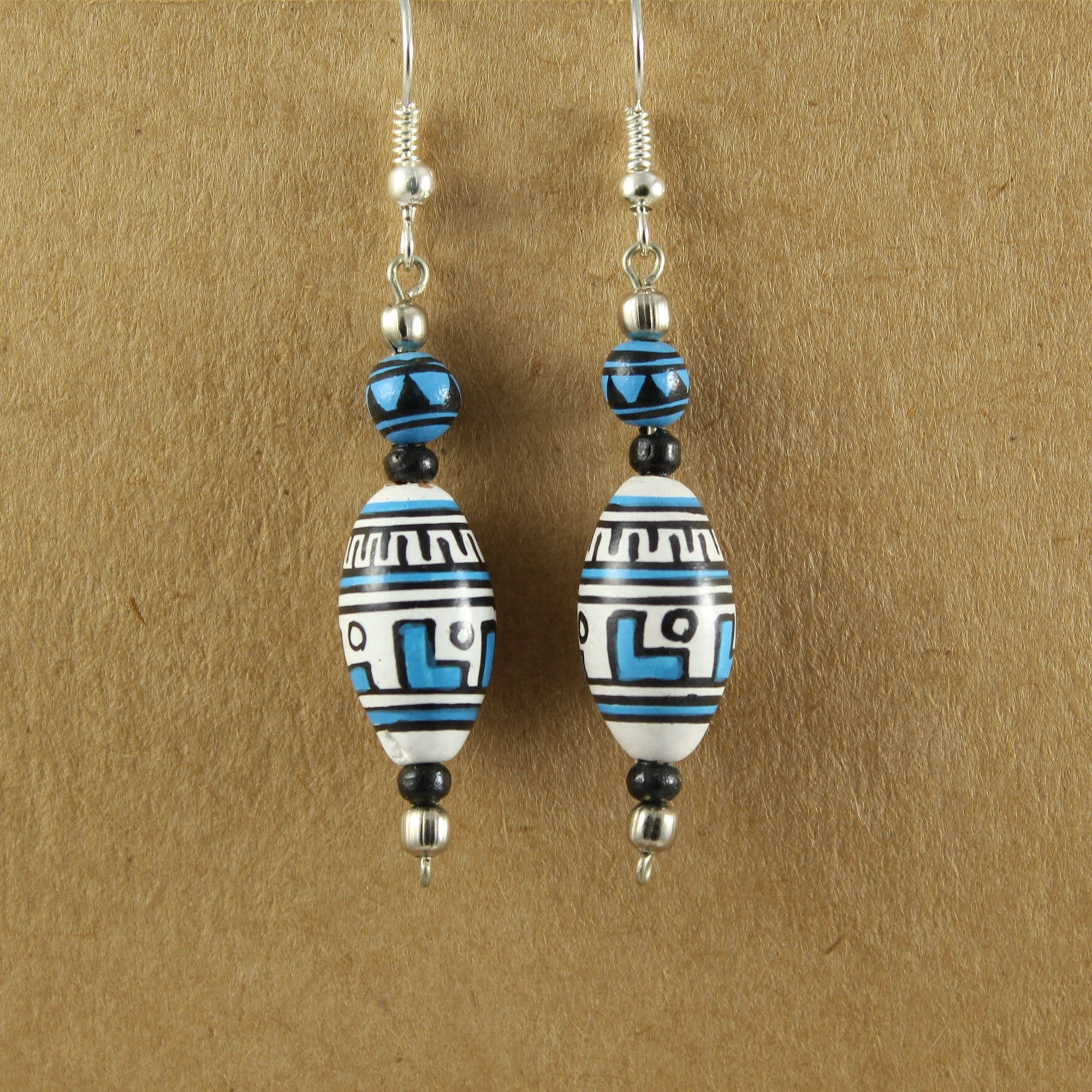 Hand Painted Blue & White Wooden Bead Earrings | Earrings - The Naughty Shrew