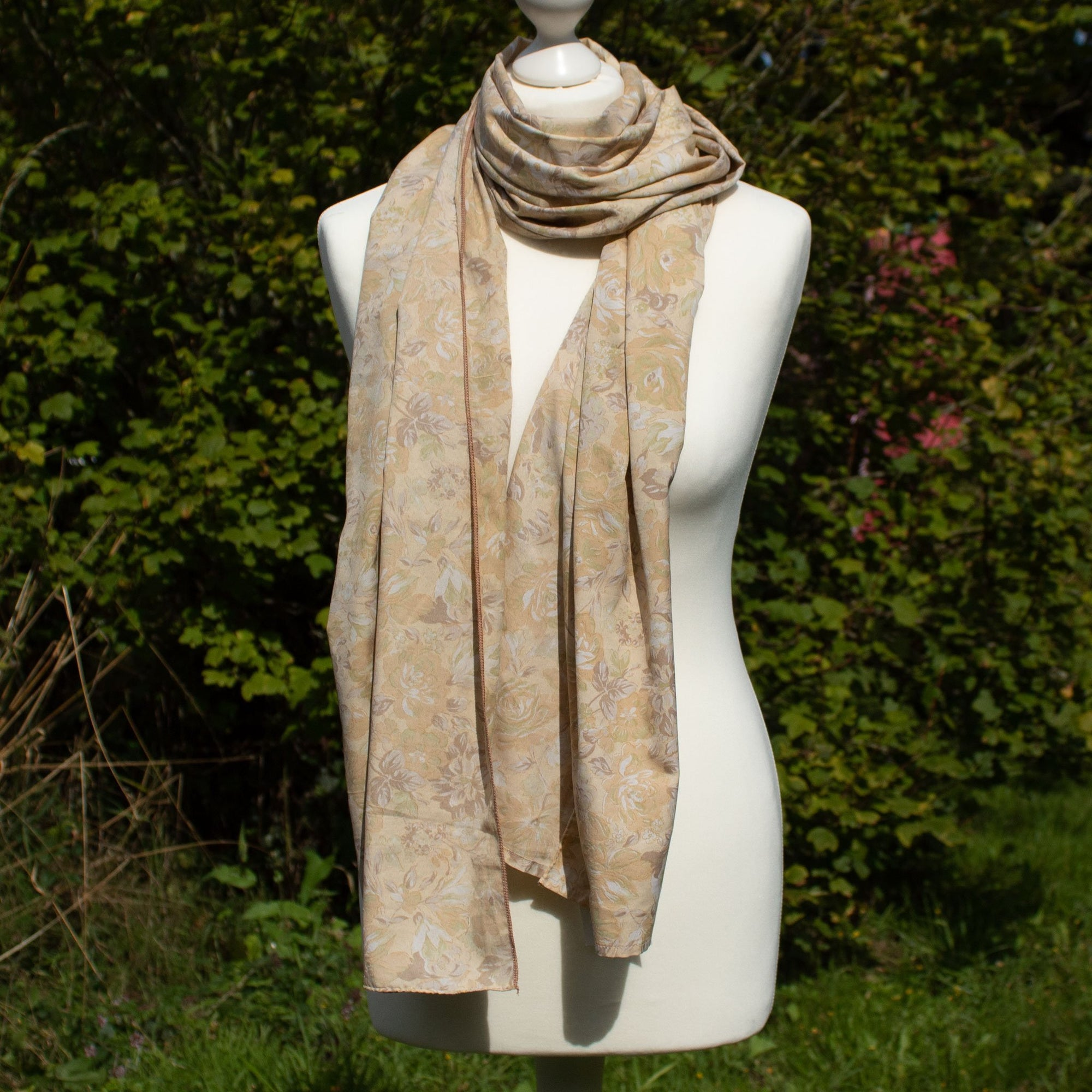 Recycled Sari Scarf - Beige Flowers | Scarf - The Naughty Shrew