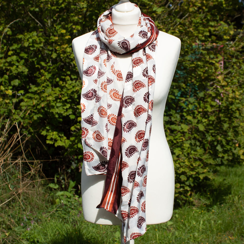 Recycled Sari Scarf - Red & White Paisley - the naughty shrew