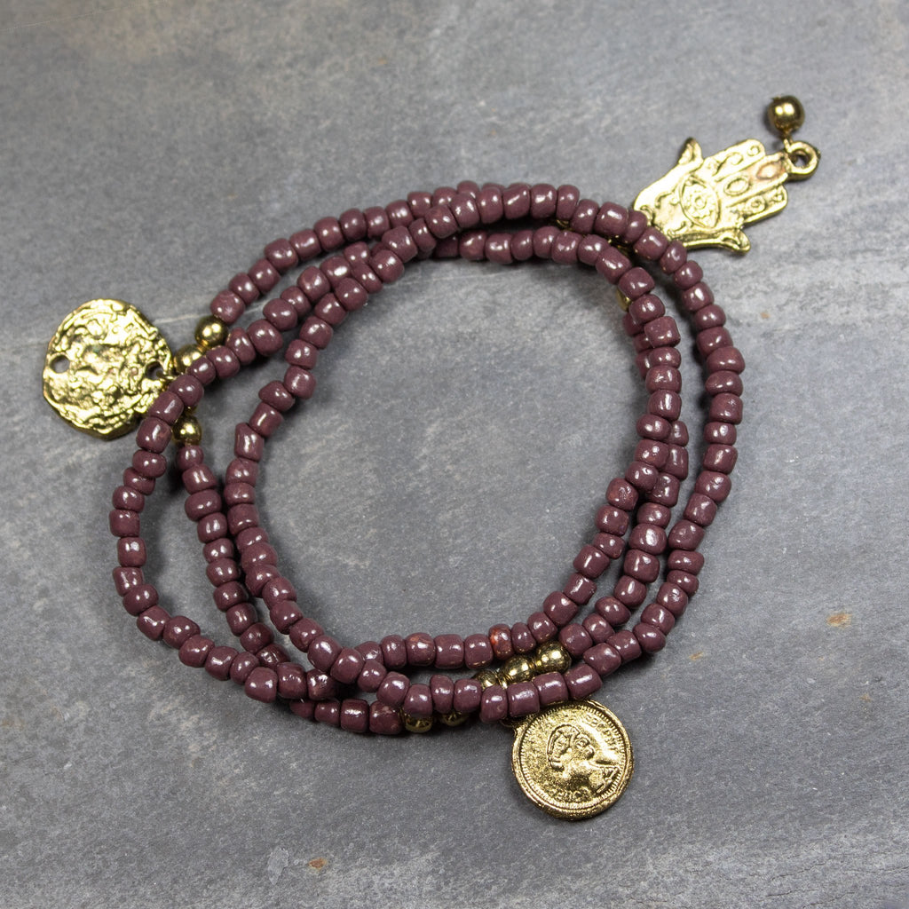 Brown Bead Bracelets With Gold Charms | Bracelet - The Naughty Shrew