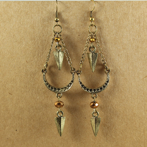 Crescent & Triangle Bead Earrings - the naughty shrew