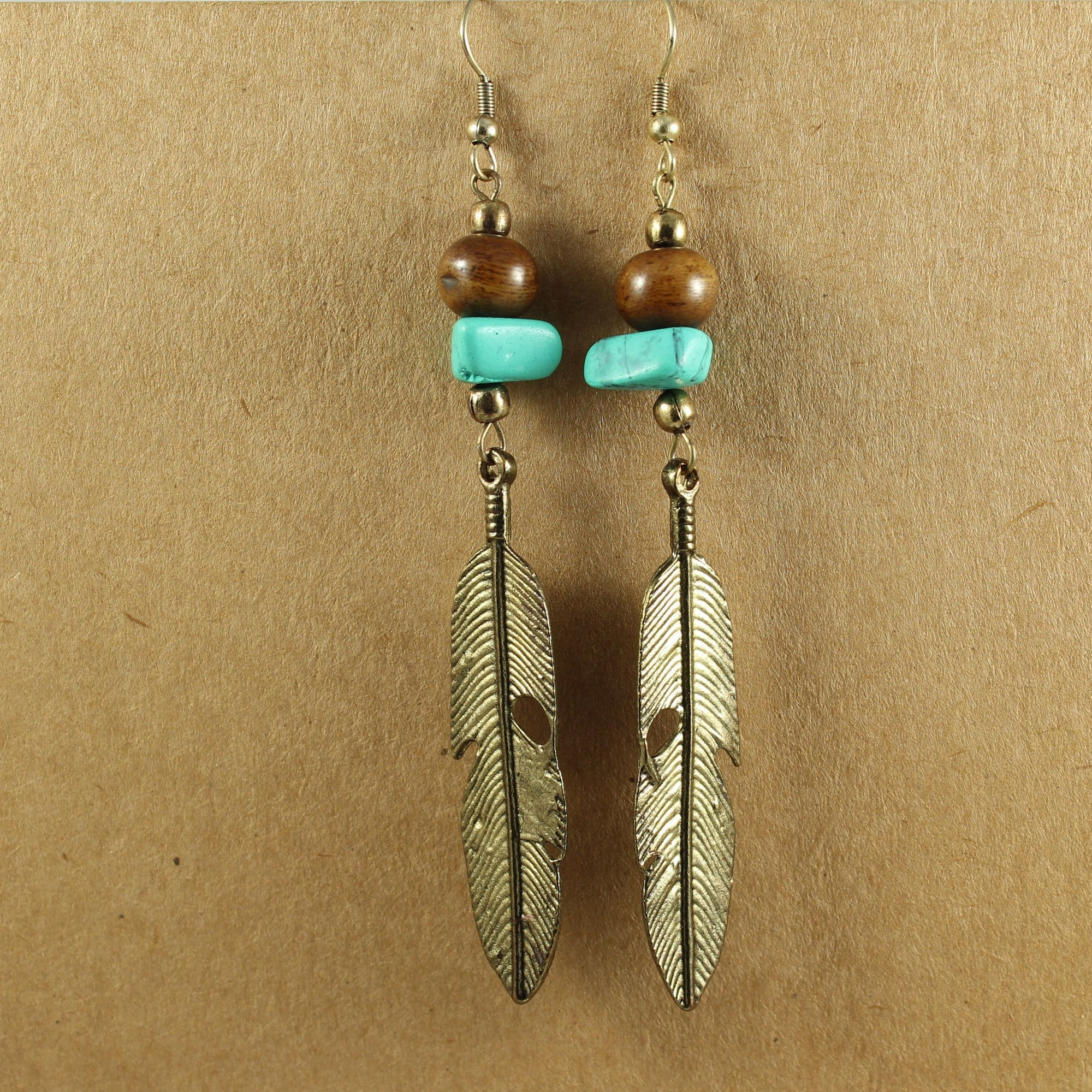 Bronze Feather & Turquoise Earrings | Earrings - The Naughty Shrew